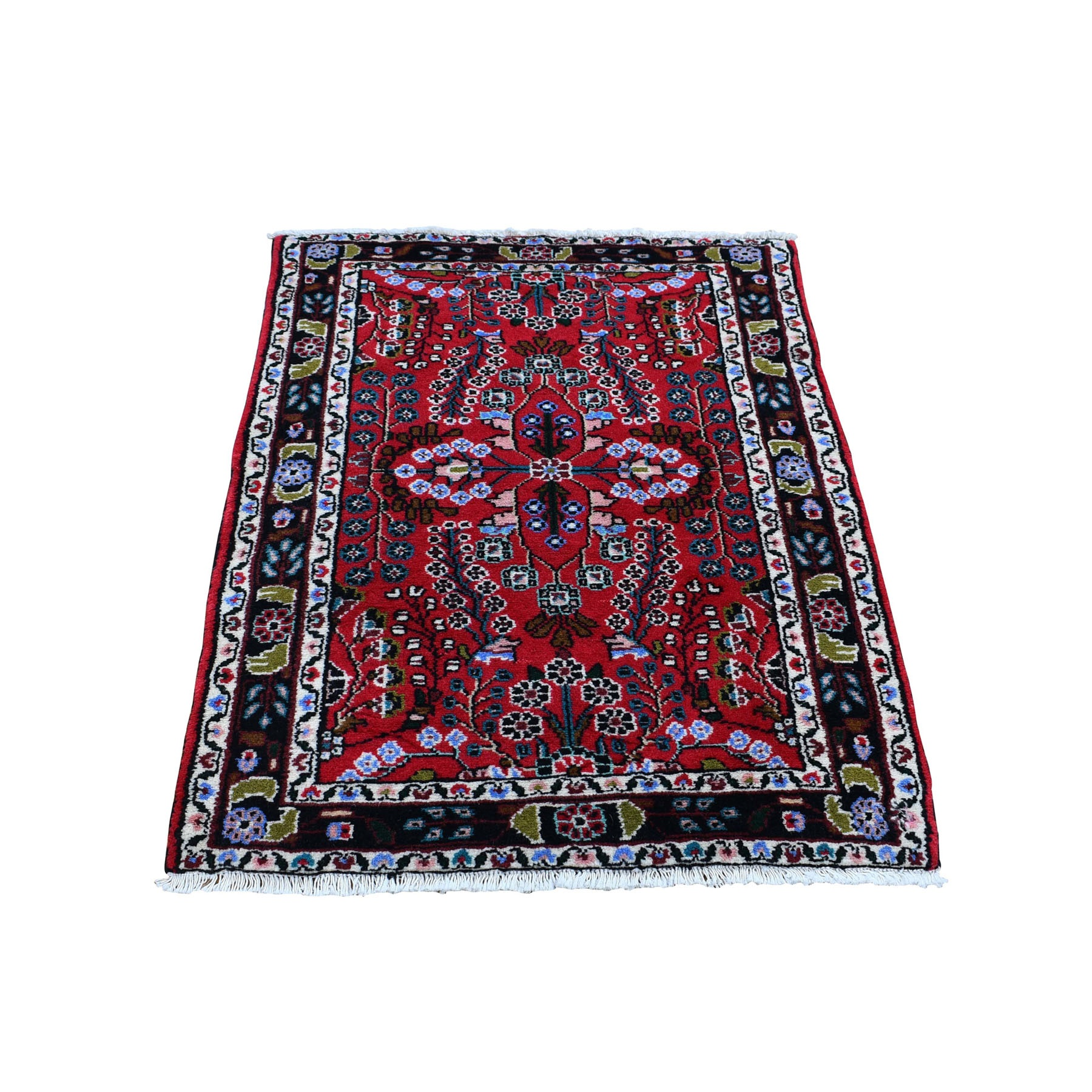 "2'6""x3'5""  Red New Persian Lilahan Pure Wool Hand Woven Oriental Rug"