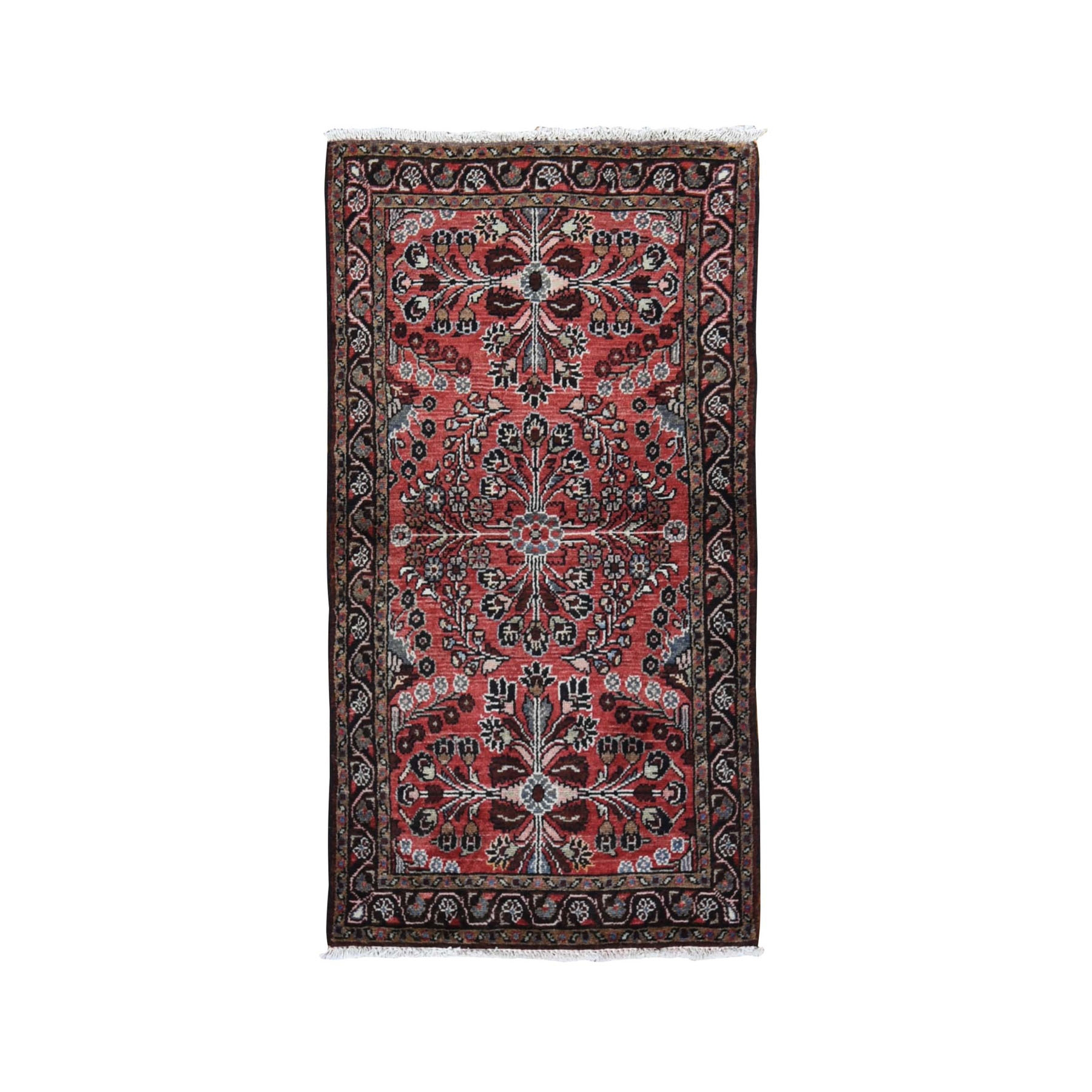 "2'10""x5'3"" Red New Persian Lilahan Pure Wool Hand Woven Oriental Rug"