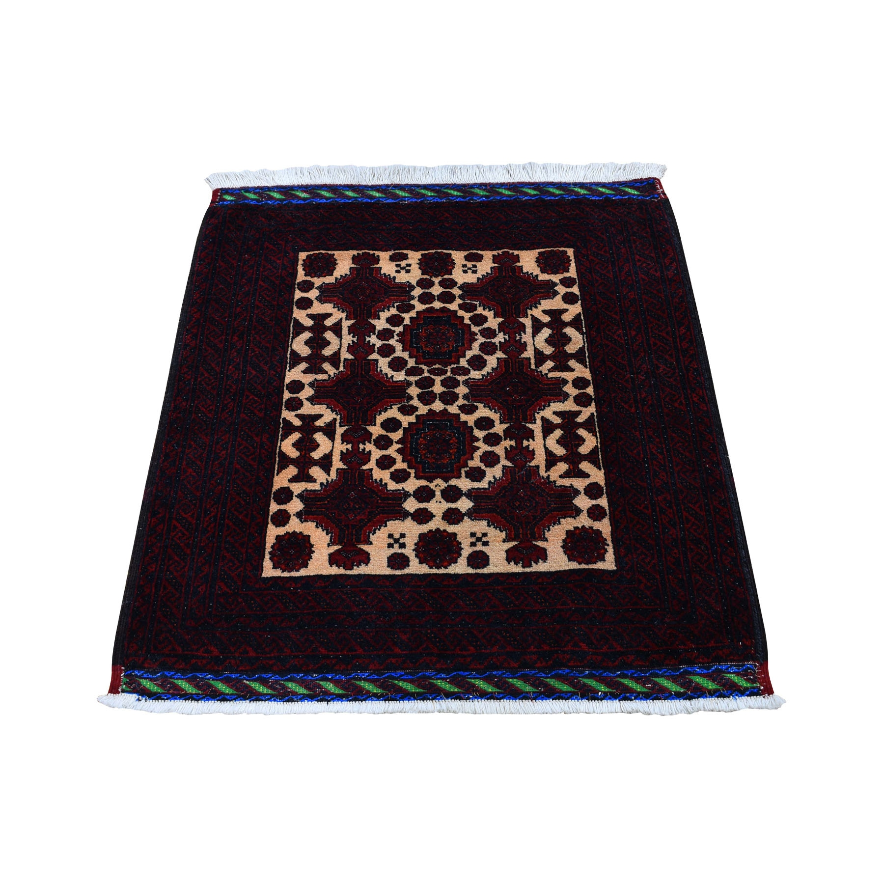 "2'9""x2'9""  Square Afghan Baluch Pure wool Hand Woven Oriental Rug"