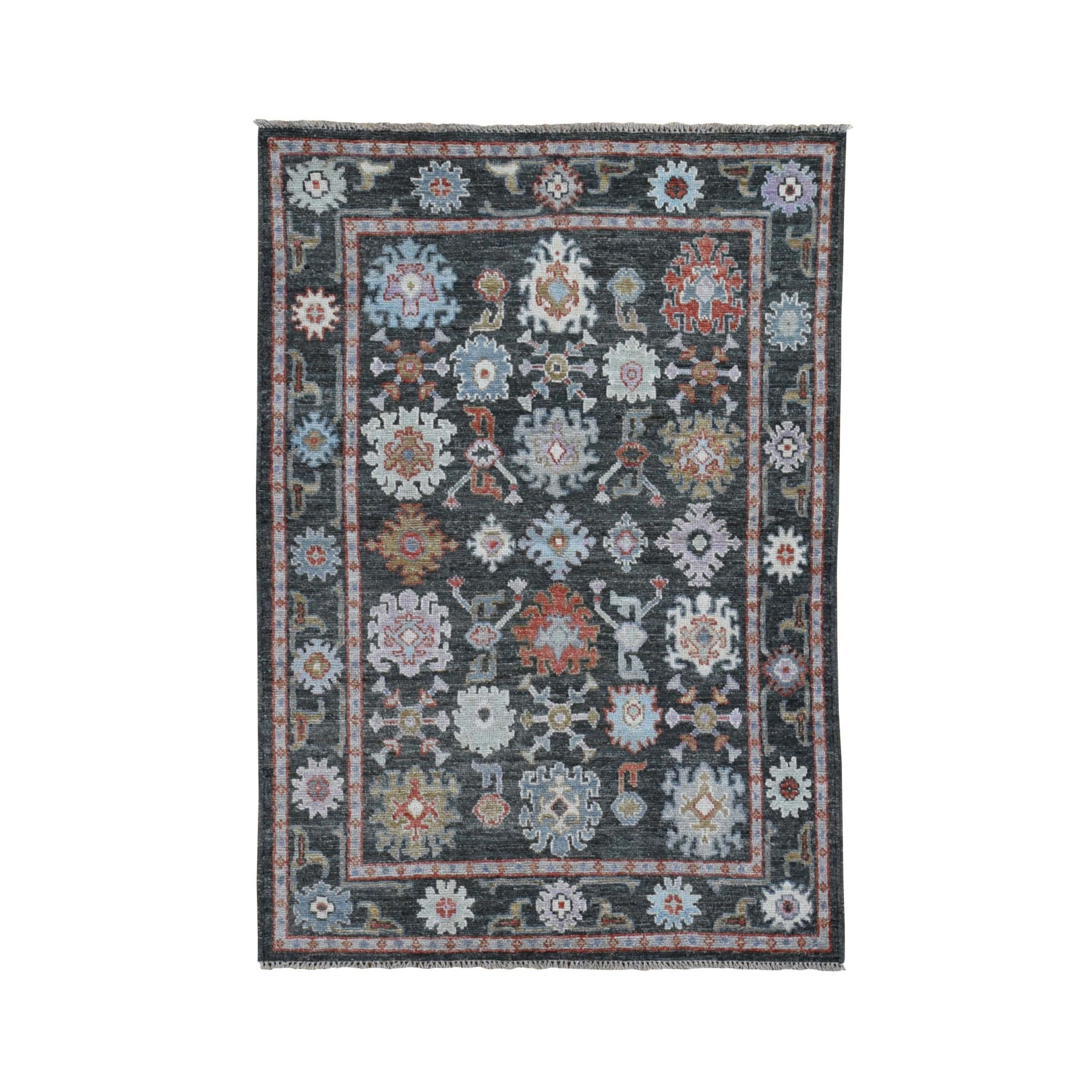 "4'x5'7"" Charcoal Black Angora Oushak With Soft Velvety Wool Hand Woven Oriental Rug"