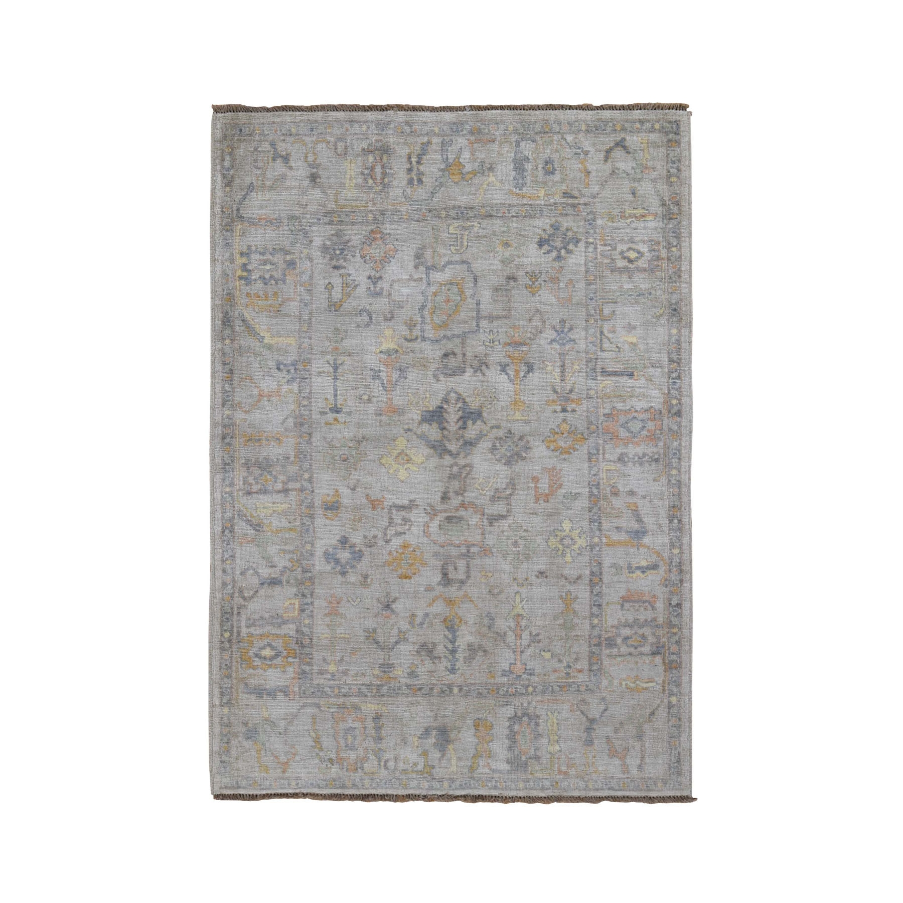 "4'10""x6'9"" Ivory Angora Oushak With Soft Velvety Wool Hand Woven Oriental Rug"