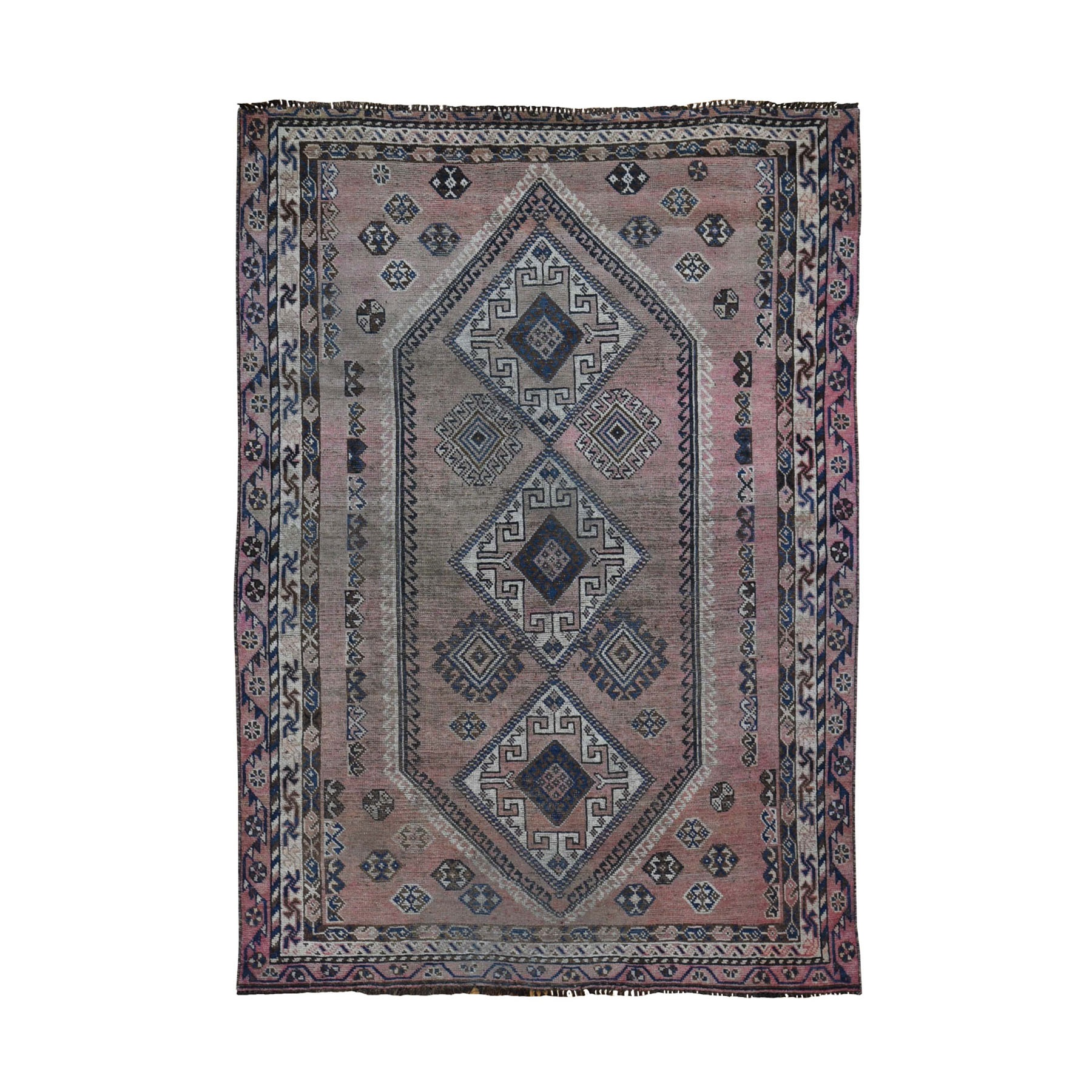 "5'x7'7"" Washed Out Shiraz With Faded Pink Hand Woven Oriental Rug"