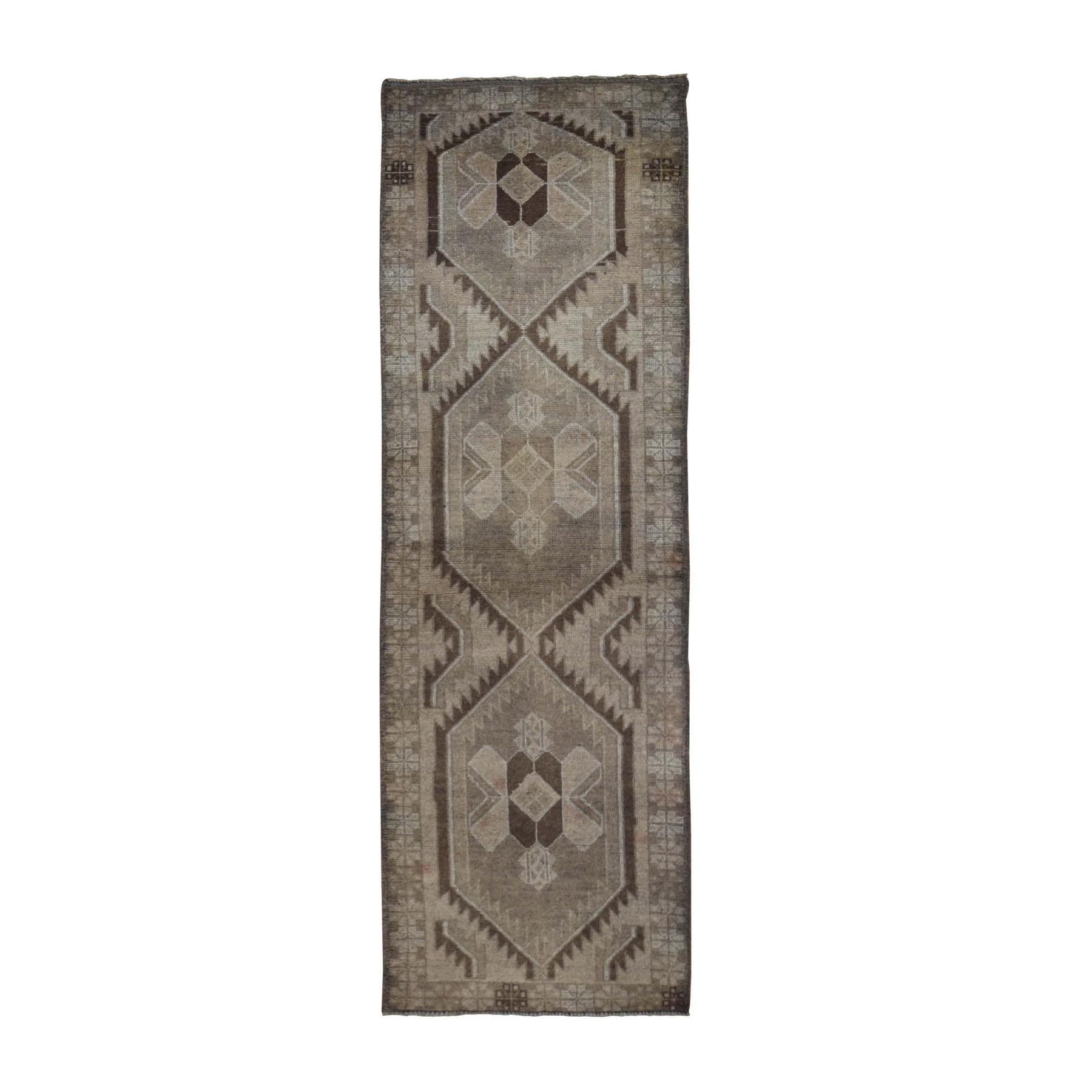"2'5""x8' Washed Out Afghan Baluch With Natural Colors Pure Wool Runner Hand Woven Oriental Rug"
