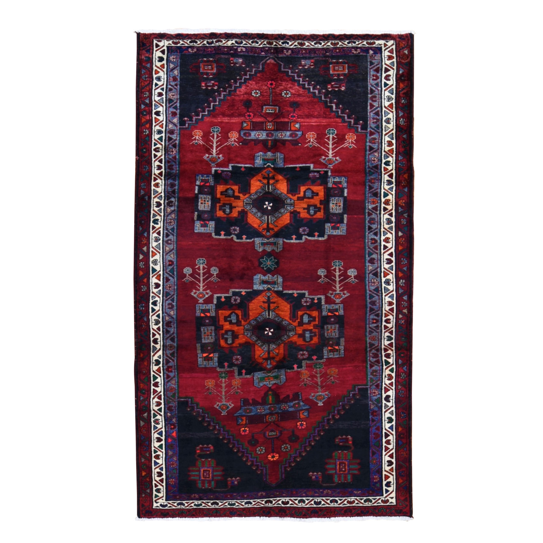 "5'5""x10' Gallery Size Red Vintage Persian Hamadan Pure wool Large Elements Hand Woven Oriental Rug"