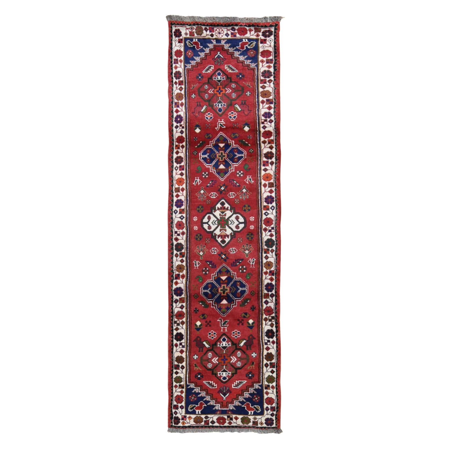 "2'5""x9'4"" Red New Persian Shiraz Pure Wool Runner Hand Woven Oriental Rug"