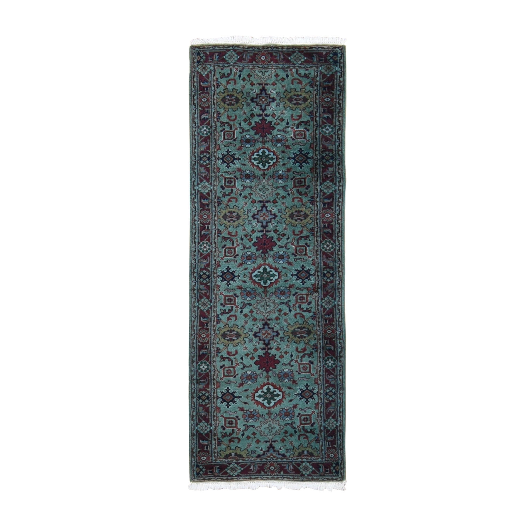 "2'6""x7'5"" Light Green Indo Mahal Runner Pure Wool Hand Woven Oriental Rug"