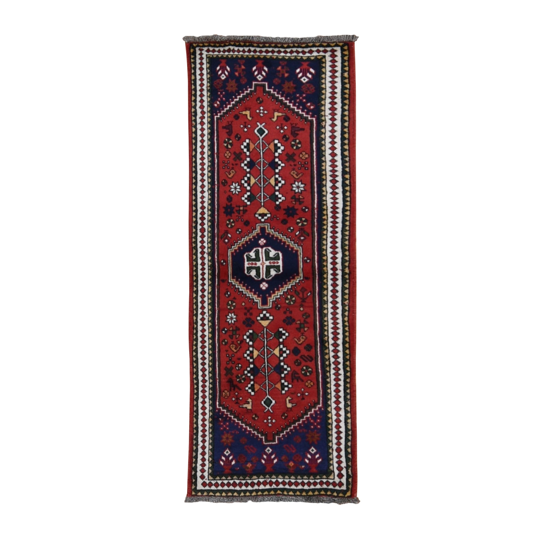"2'3""x6'3"" Red New Persian Shiraz Pure Wool Runner Hand Woven Oriental Rug"