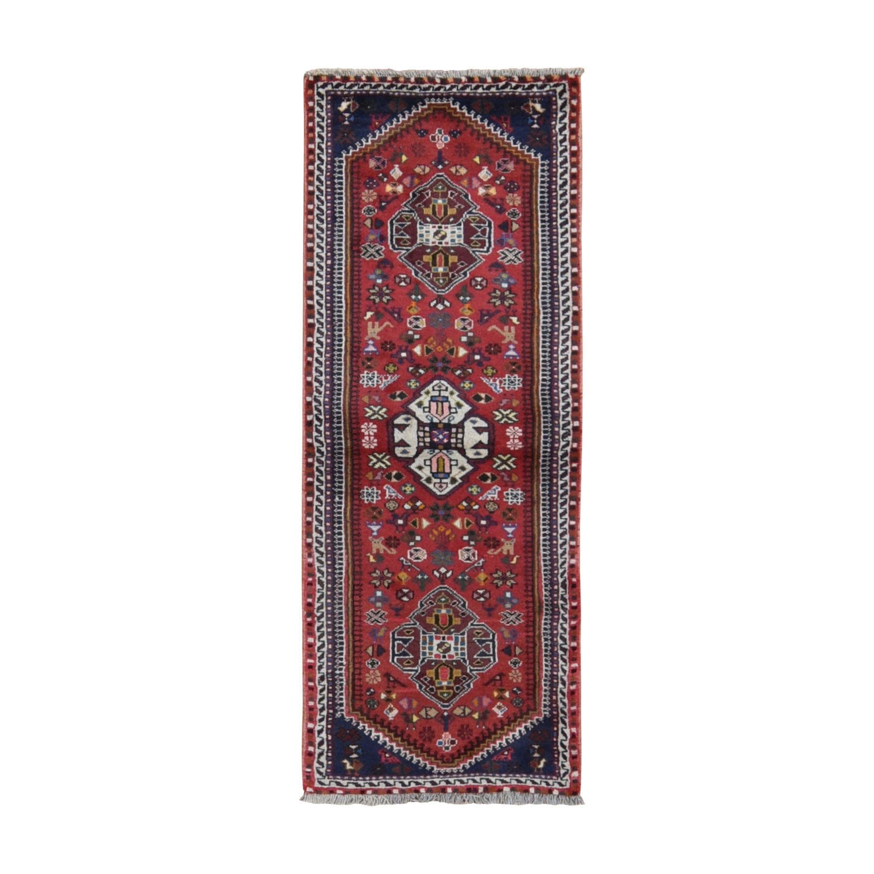 "2'3""x6'3"" Red New Persian Shiraz With Birds Pure Wool Runner Hand Woven Oriental Rug"