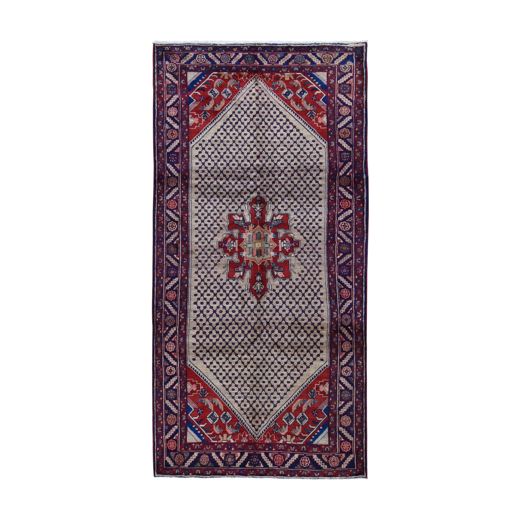 "5'1""x10'2"" Gallery Size New Persian Hamadan Pure Wool Hand Woven Oriental Rug"