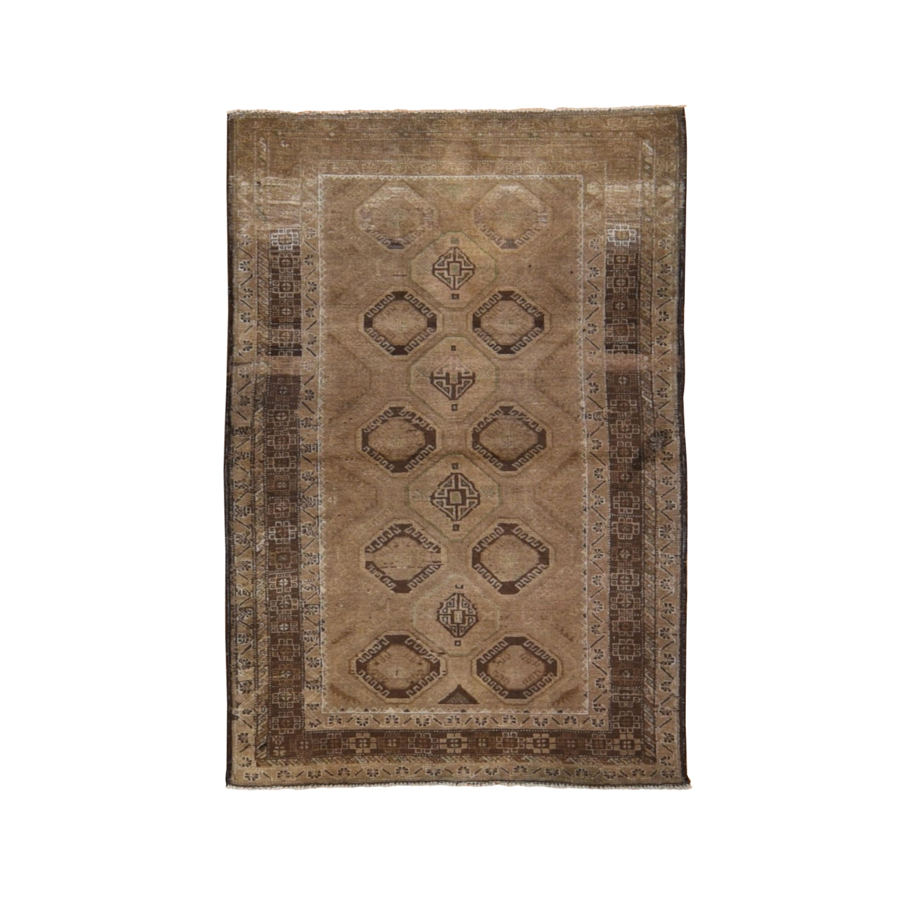 "3'7""x6'1"" Washed Out With Natural Colors Abrush Tribal Hand Woven Oriental Rug"