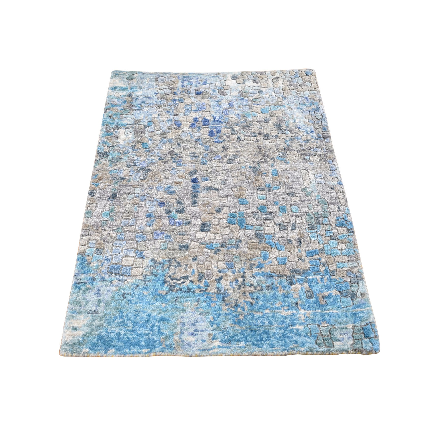 2'x3' Abstract Mosaic Wool And Silk Hand Woven Oriental Rug