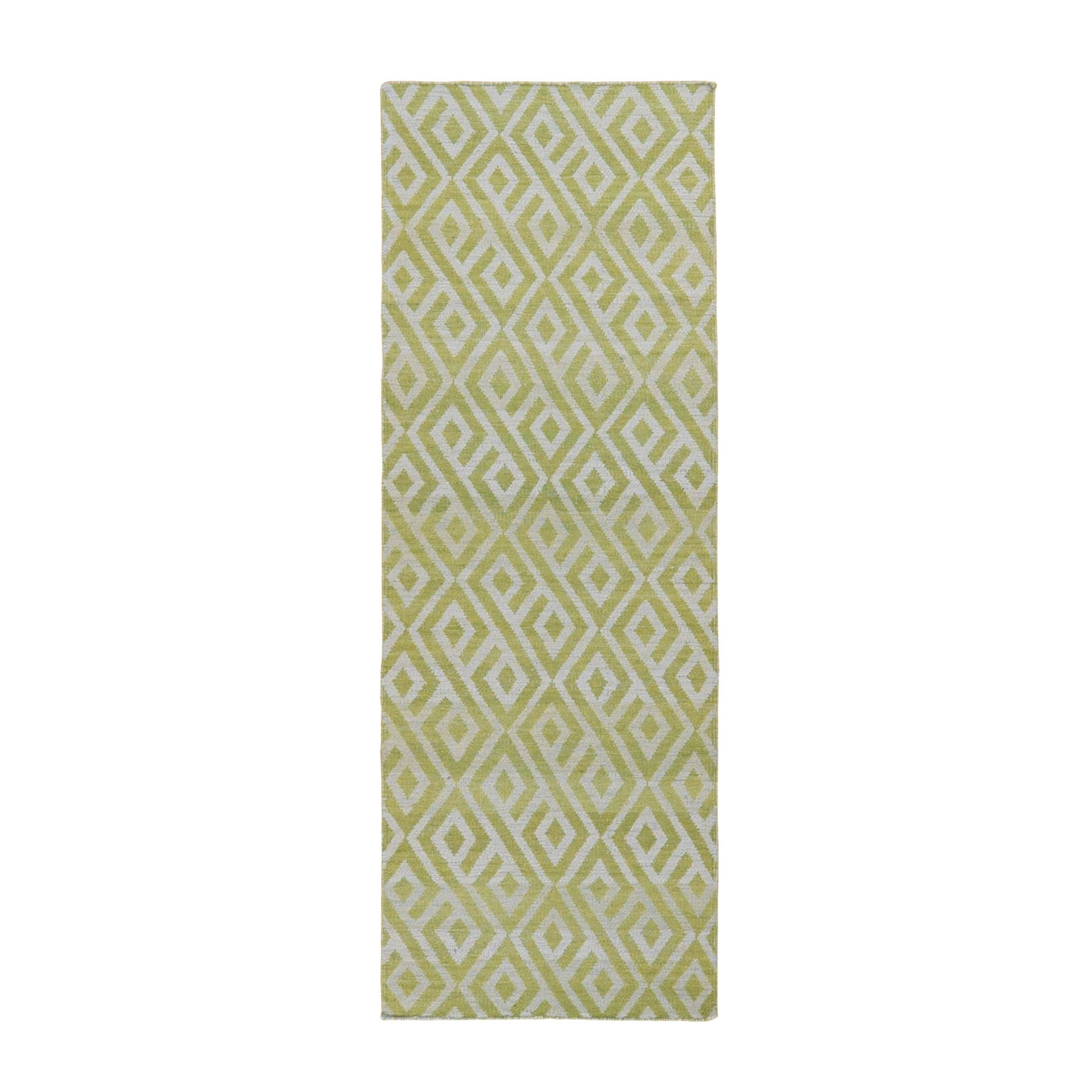 "2'9""x7'10"" Light Green Reversible Runner Hand Woven Killim Flat Weave Rug"