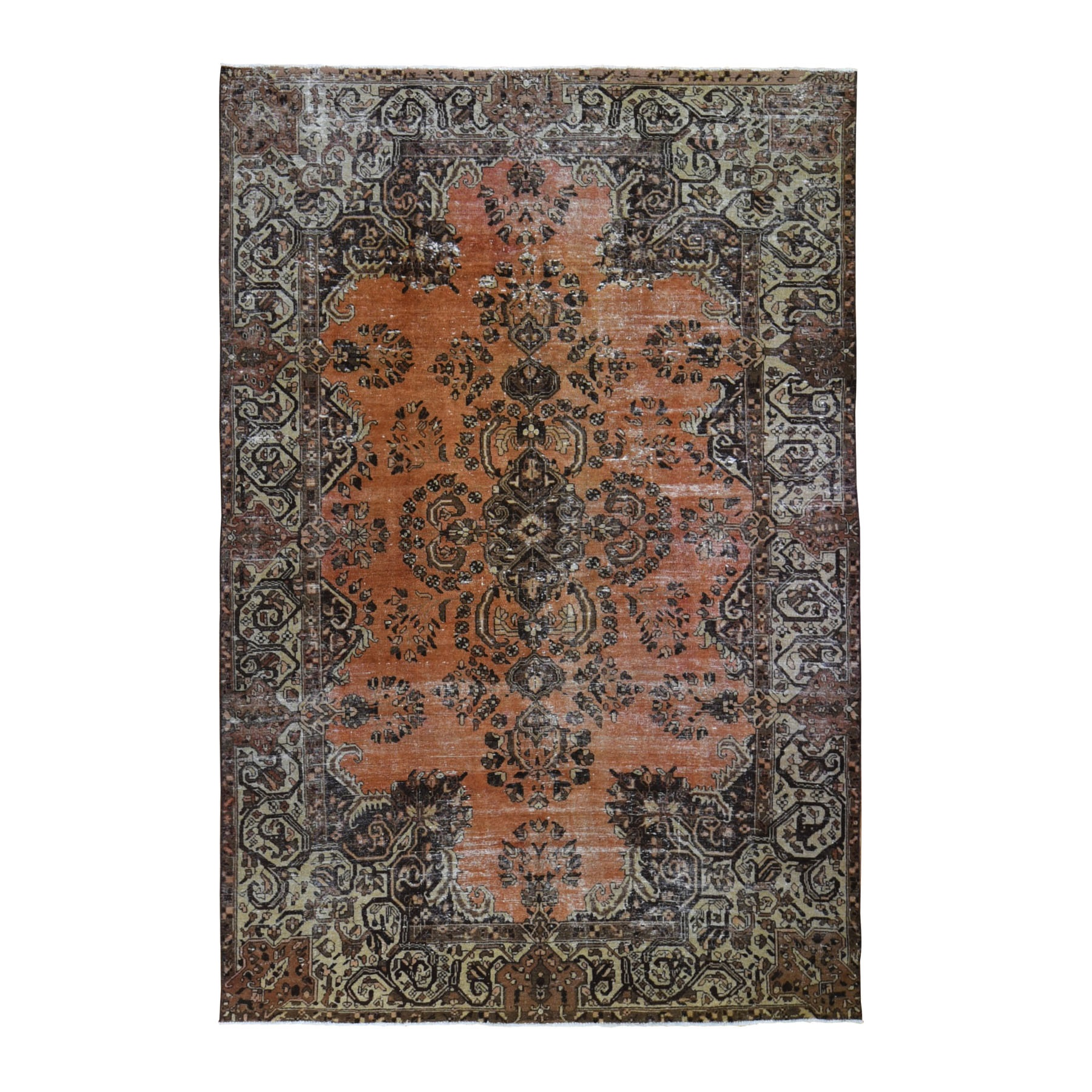 "6'6""x10'5"" Burnt Orange Vintage Persian Lilihan Worn Hand Woven Oriental Rug"
