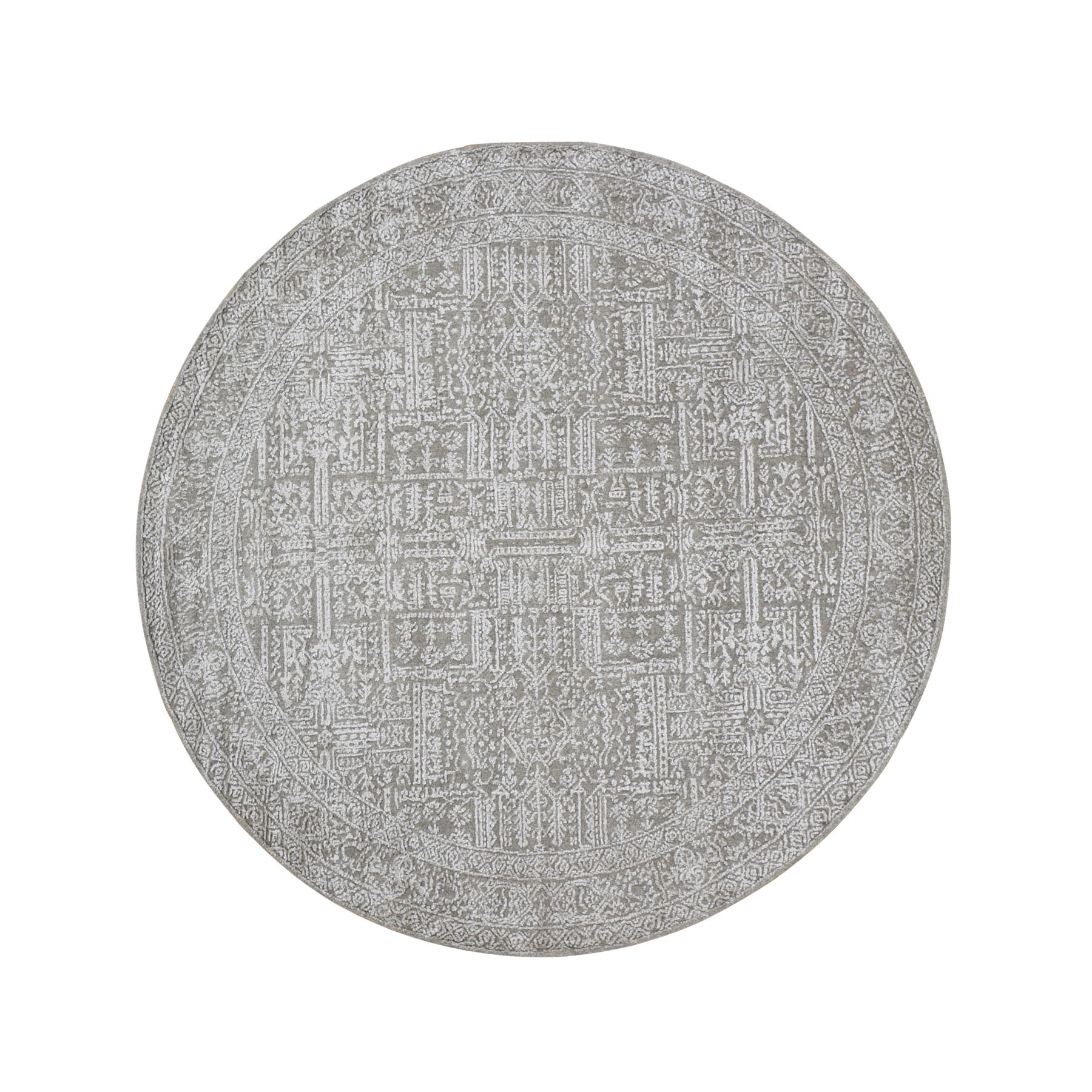 "5'10""x5'10"" Round Gray Fine jacquard Hand Loomed Modern Wool And Art Silk Oriental Rug"