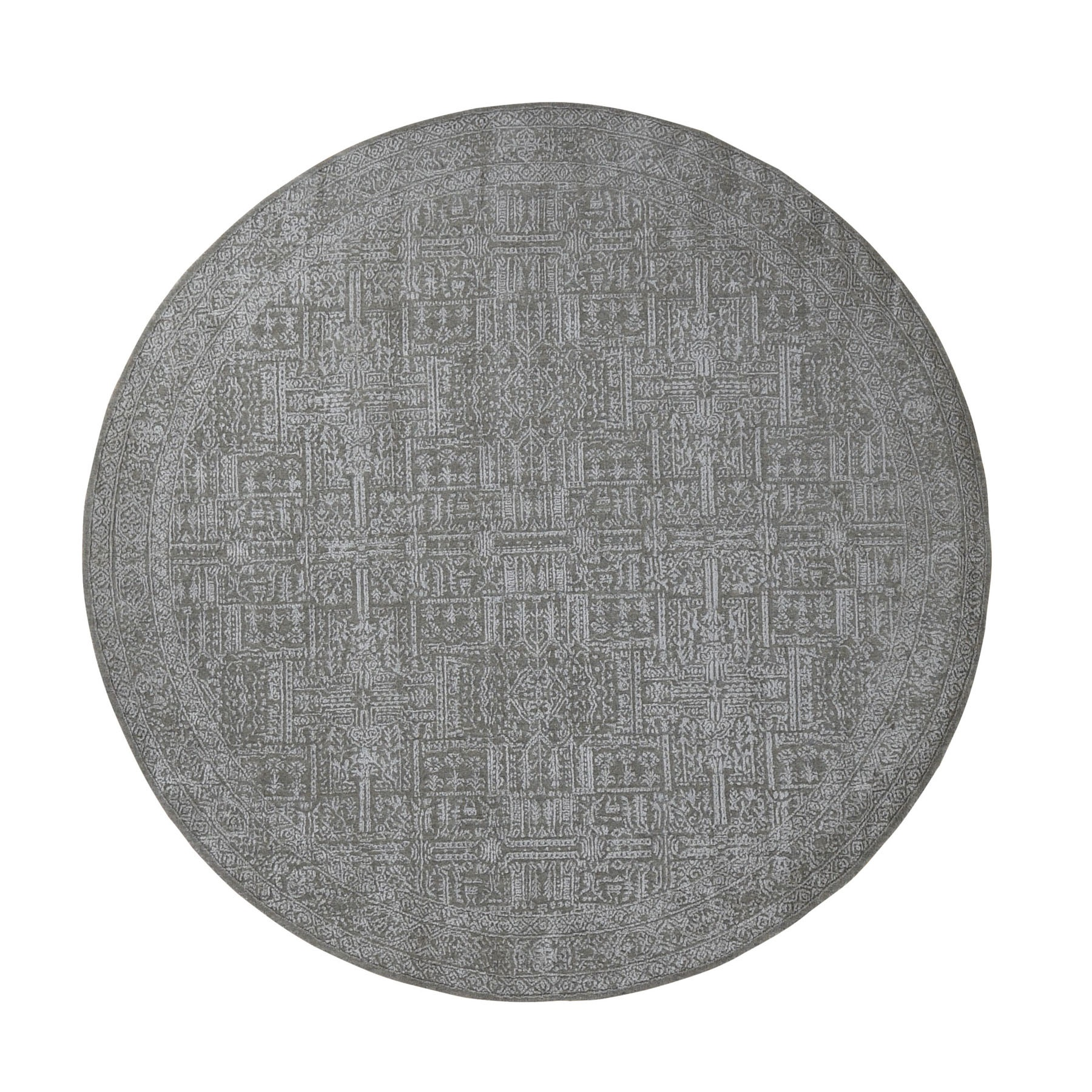 "7'10""x7'10"" Round Gray Fine jacquard Hand Loomed Modern Wool And Art Silk Oriental Rug"