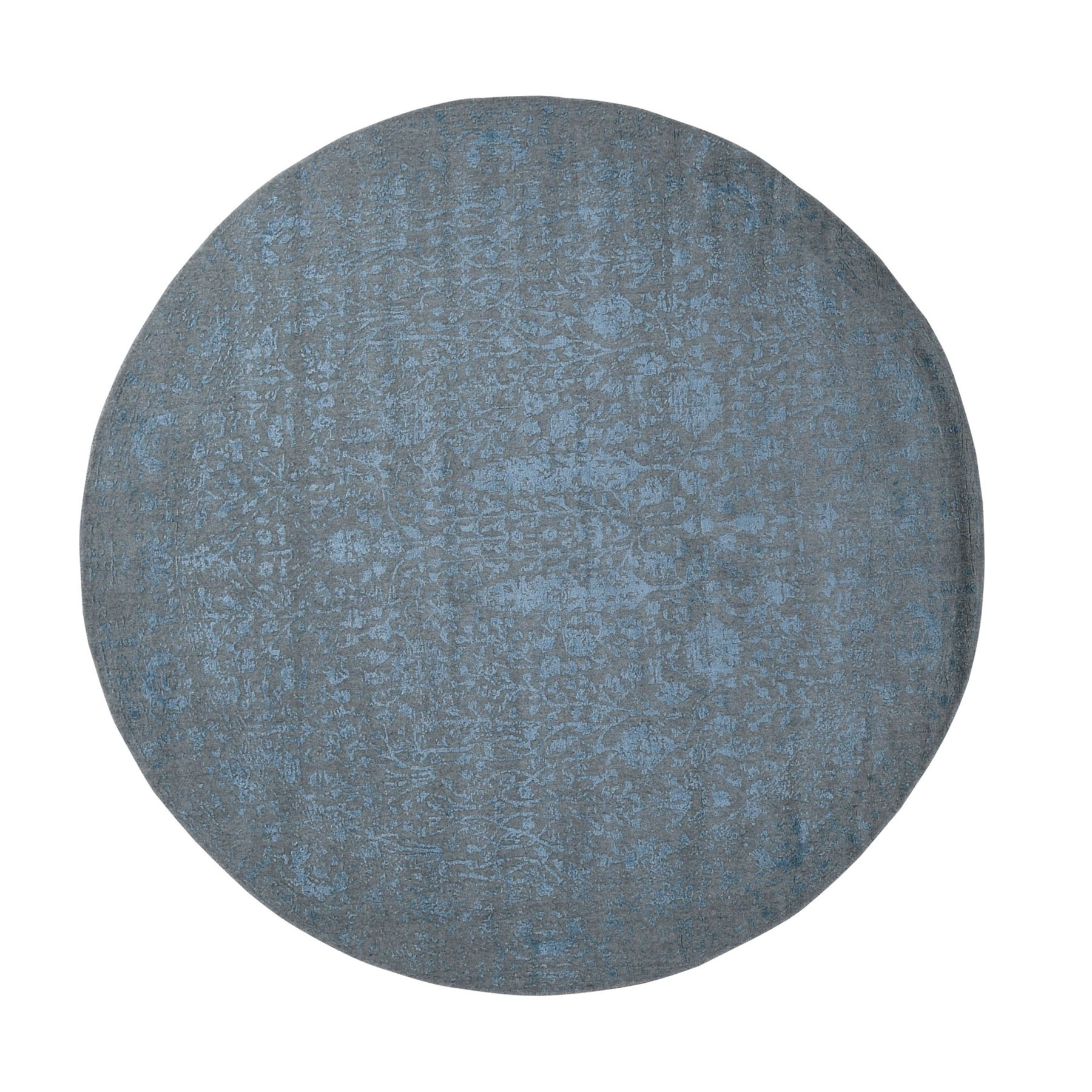 8'x8' Round Gray Broken Cypress Tree Design Wool And Silk Thick Hand Loomed Oriental Rug