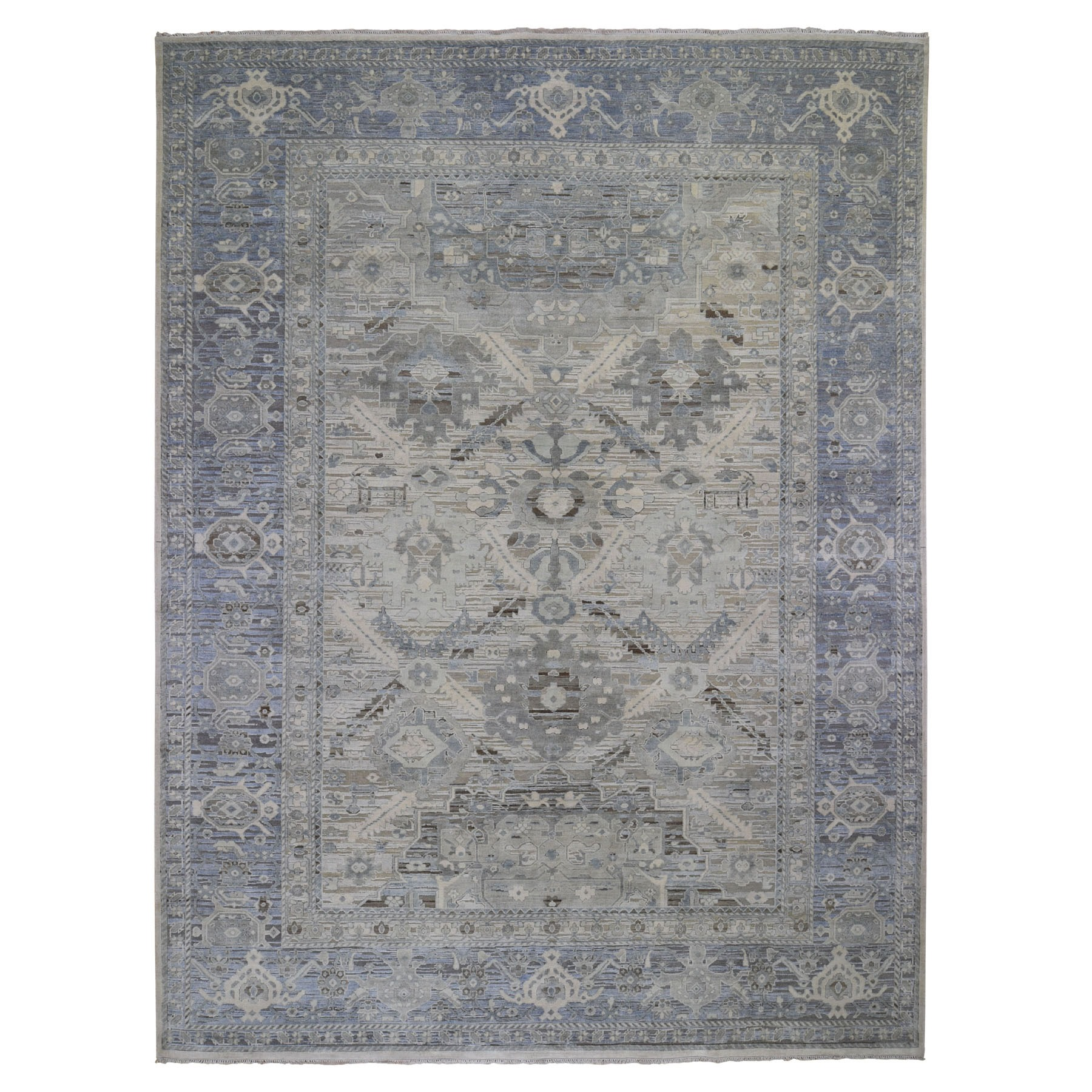 "9'1""x12' Hand Woven Pure Silk And Textured Wool Oushak With Geometric Motif Oriental Rug"