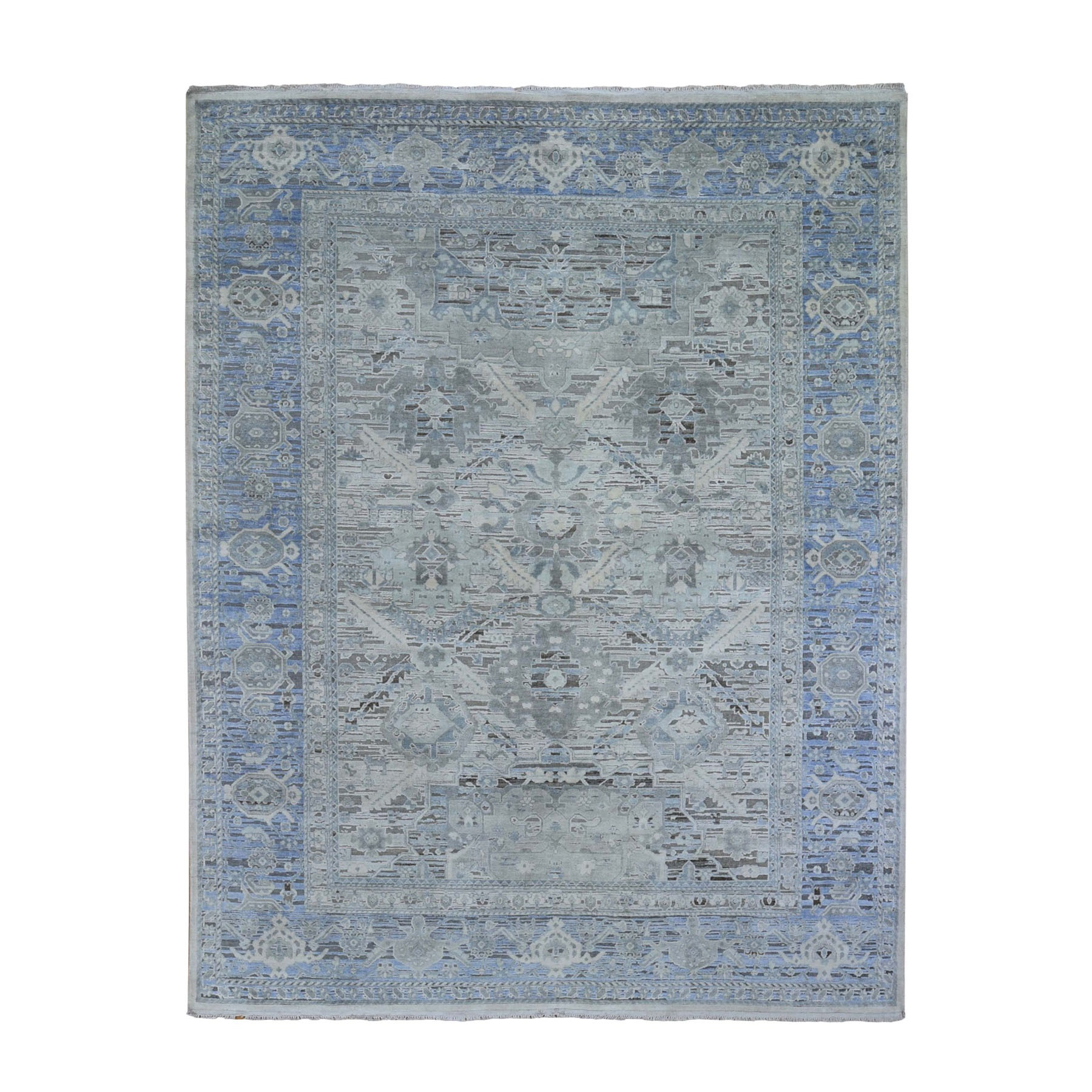 "8'x10'3"" Hand Woven Pure Silk and Textured Wool Oushak with Geometric Motif Oriental Rug"