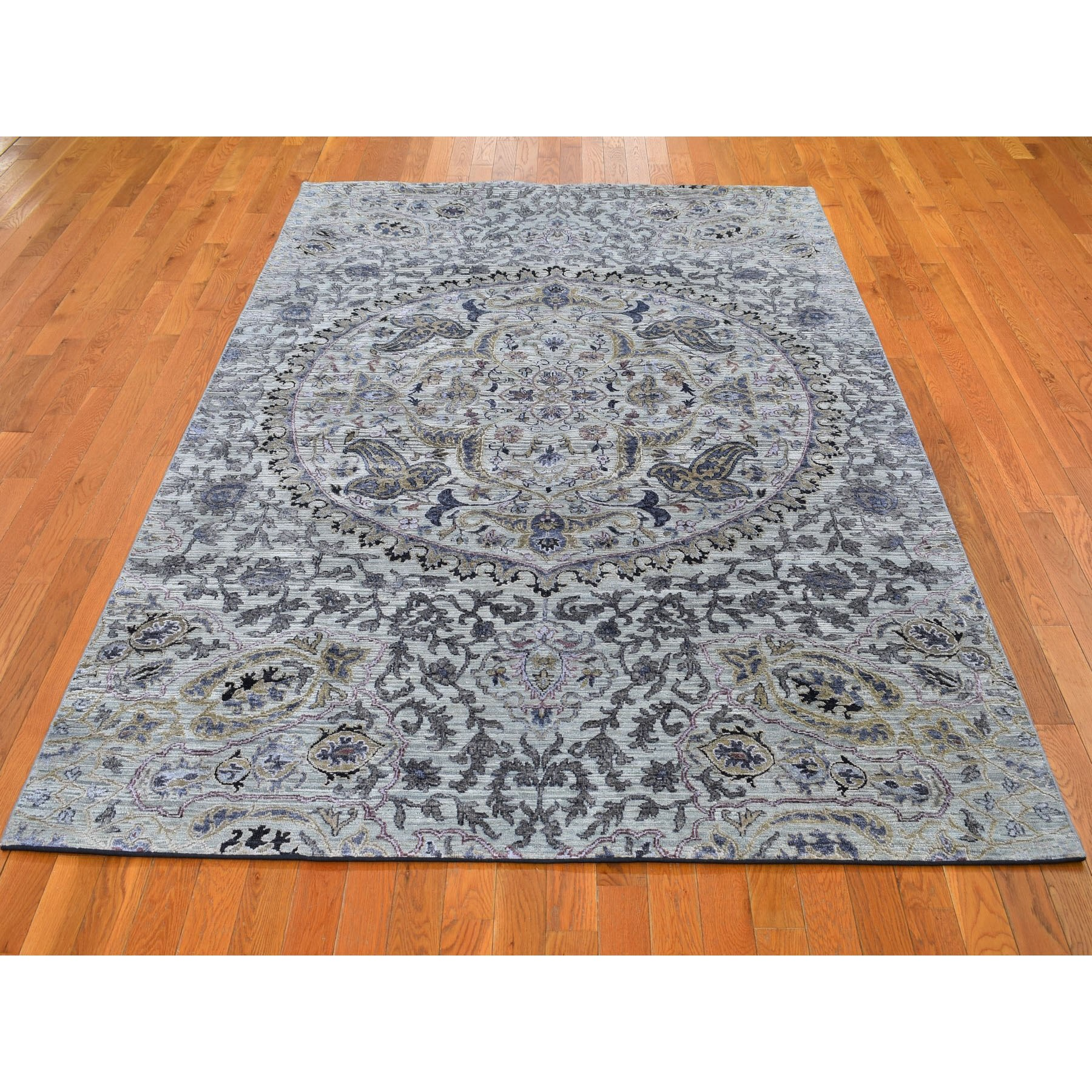 "6'1""x9'2"" THE MAHARAJA Pure Silk with Textured Wool Hand Woven Oriental Rug"