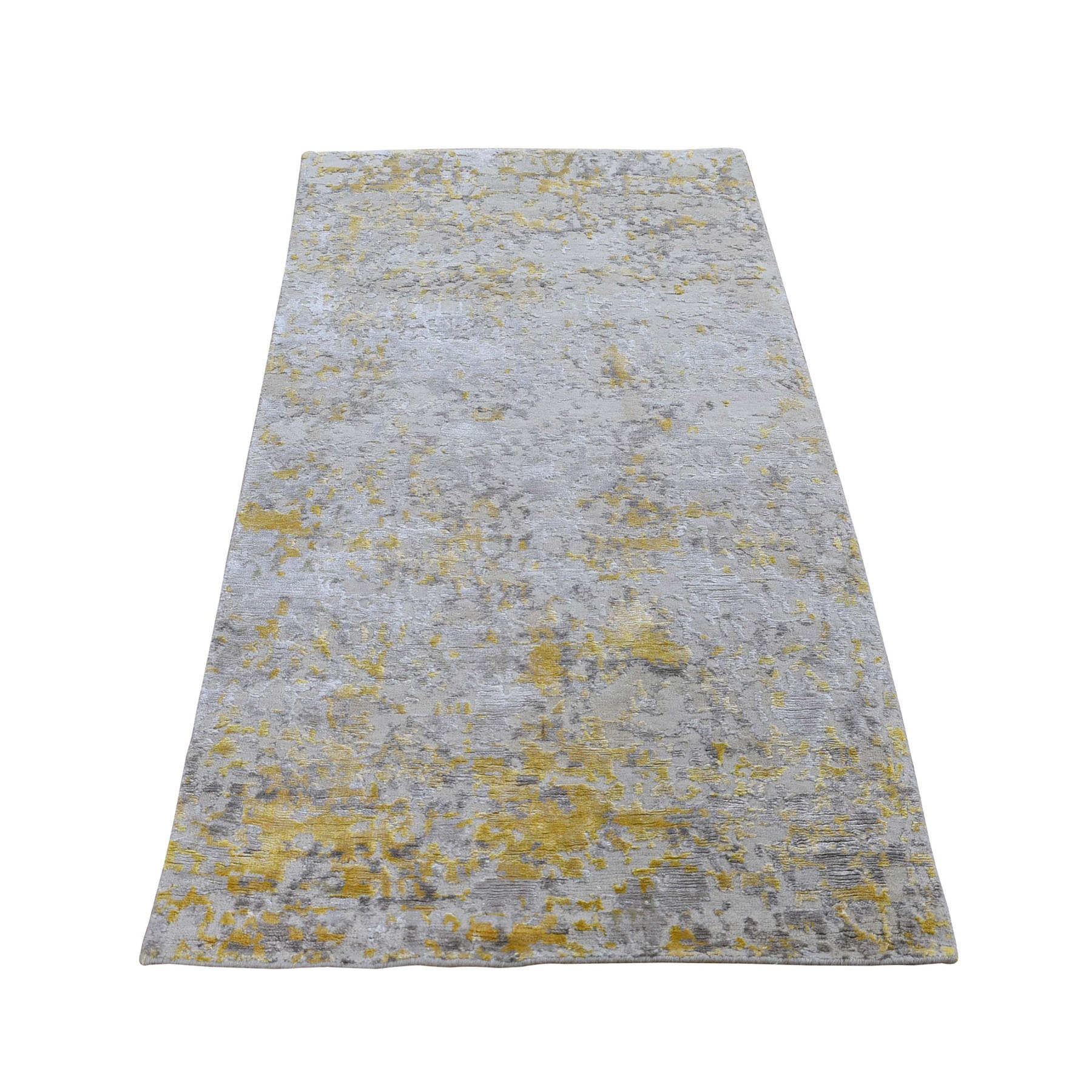 "2'6""x6' Gold Hi-Lo Pile Abstract Design Wool And Silk Runner Hand Woven Oriental Rug"