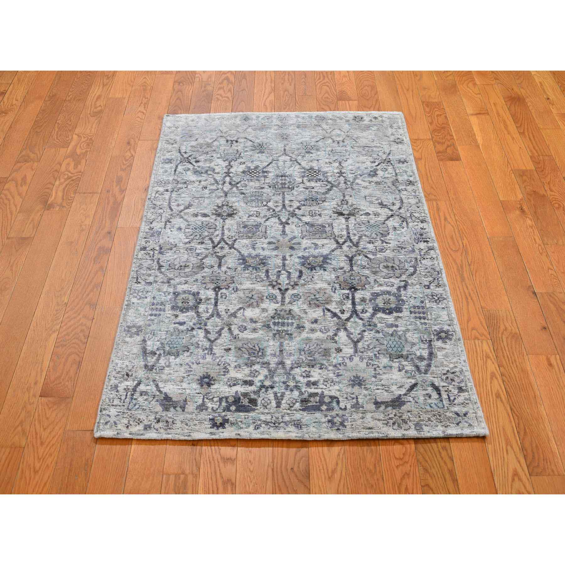"3'x5'2"" Ivory Silk With Textured Wool Tabriz Hand Woven Oriental Rug"