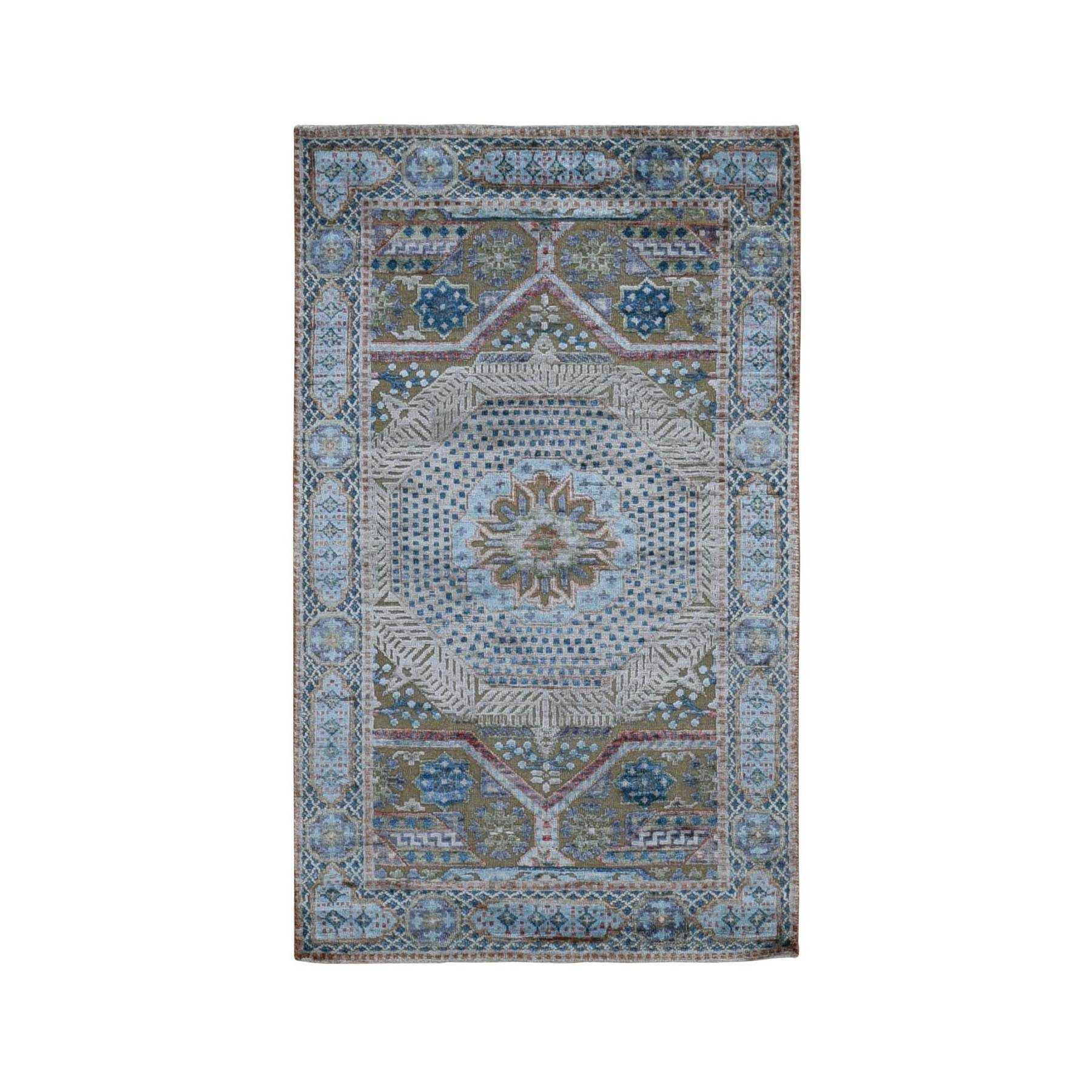3'x5' Blue Silk With Textured Wool Mamluk Design Hand knotted Oriental Rug
