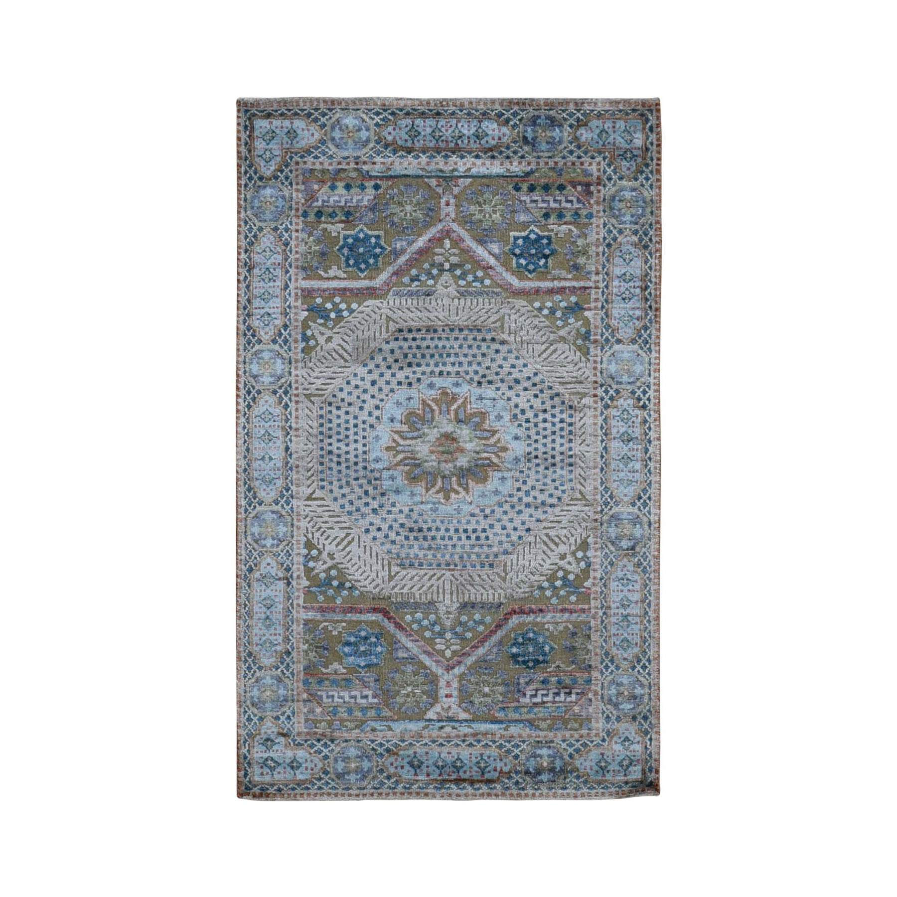 "3'x5'1"" Blue Silk With Textured Wool Mamluk Design Hand knotted Oriental Rug"