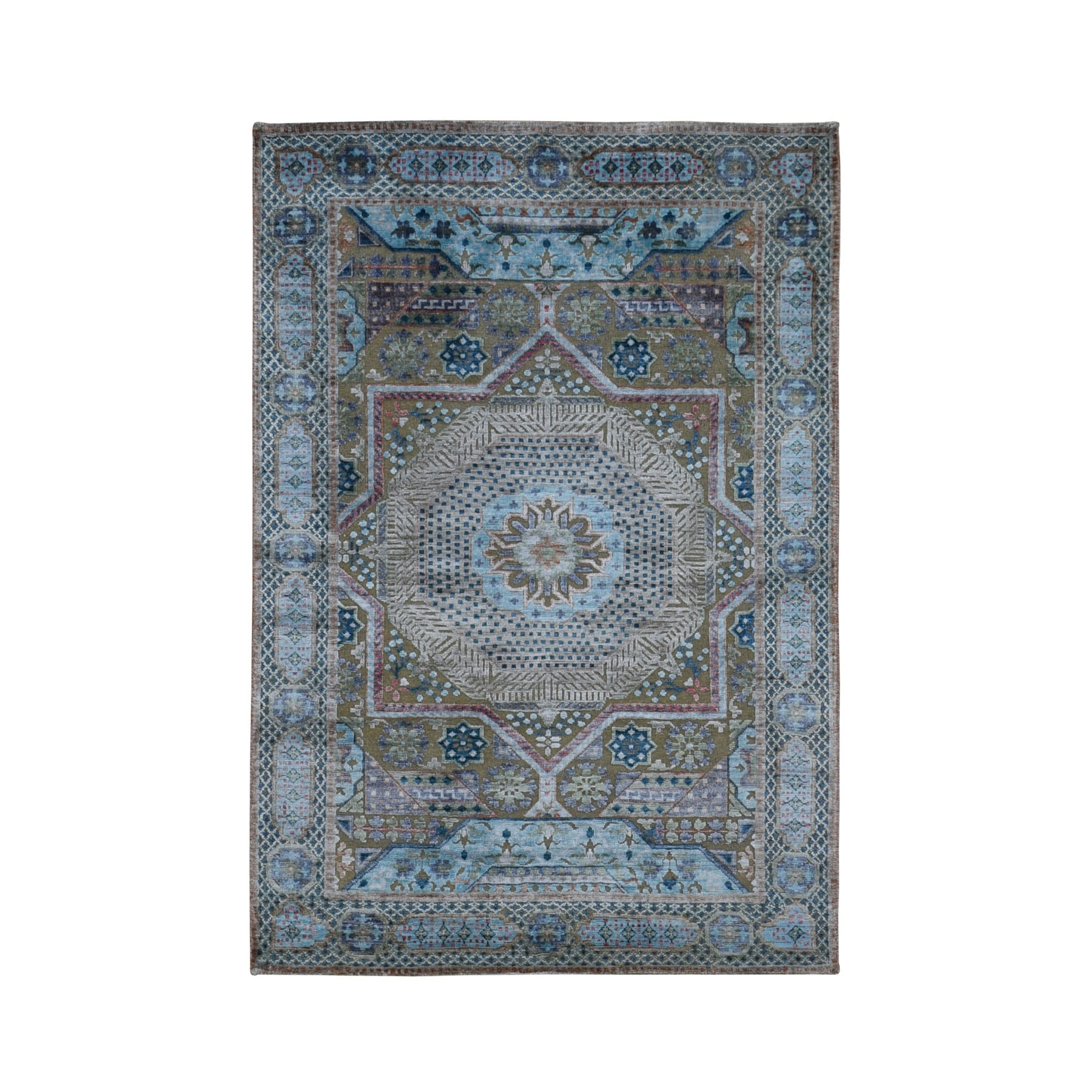 "4'x5'10"" Silk With Textured Wool Mamluk Design Hand knotted Oriental Rug"