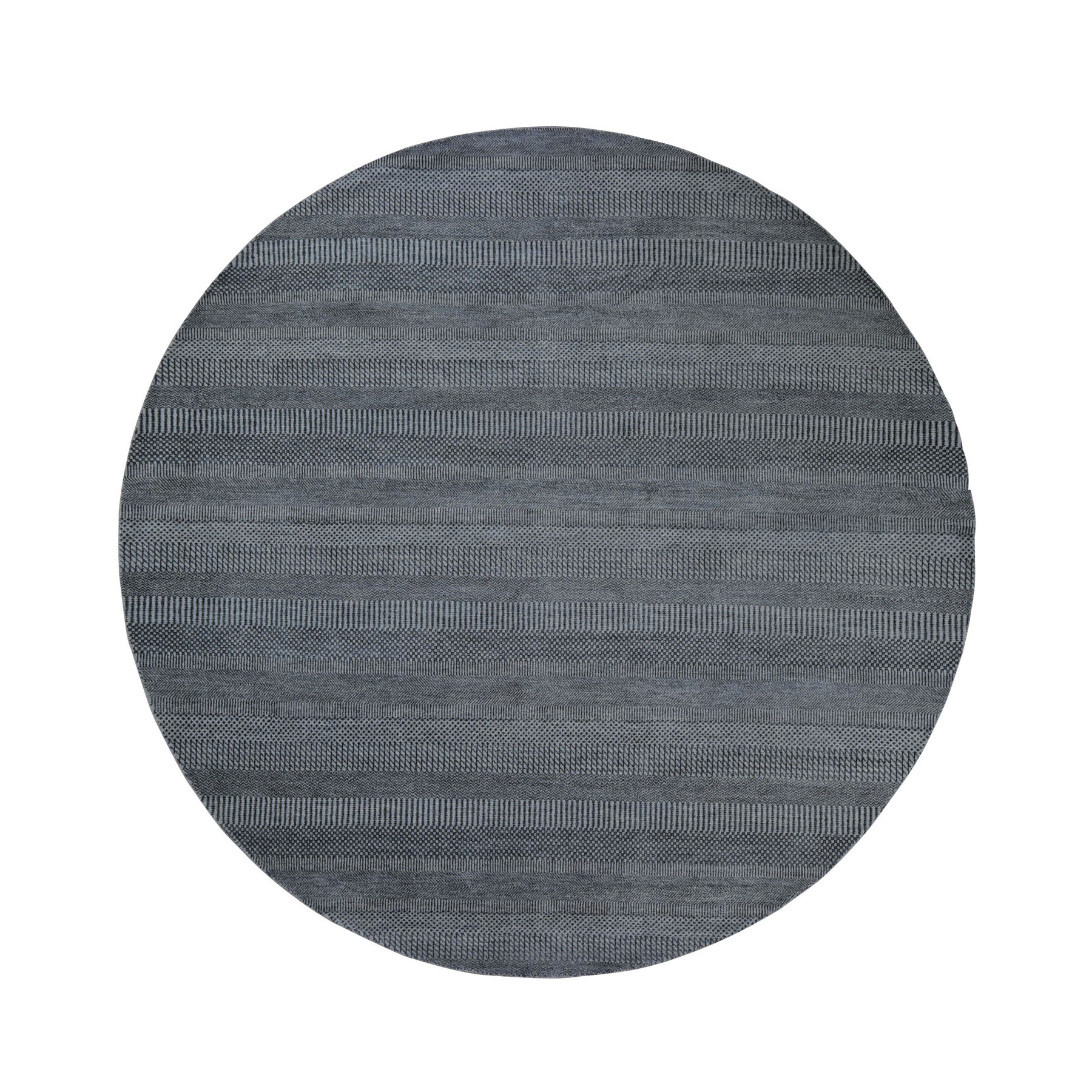 8'x8' Round Gray Grass Design Wool And Silk Hand Woven Oriental Rug