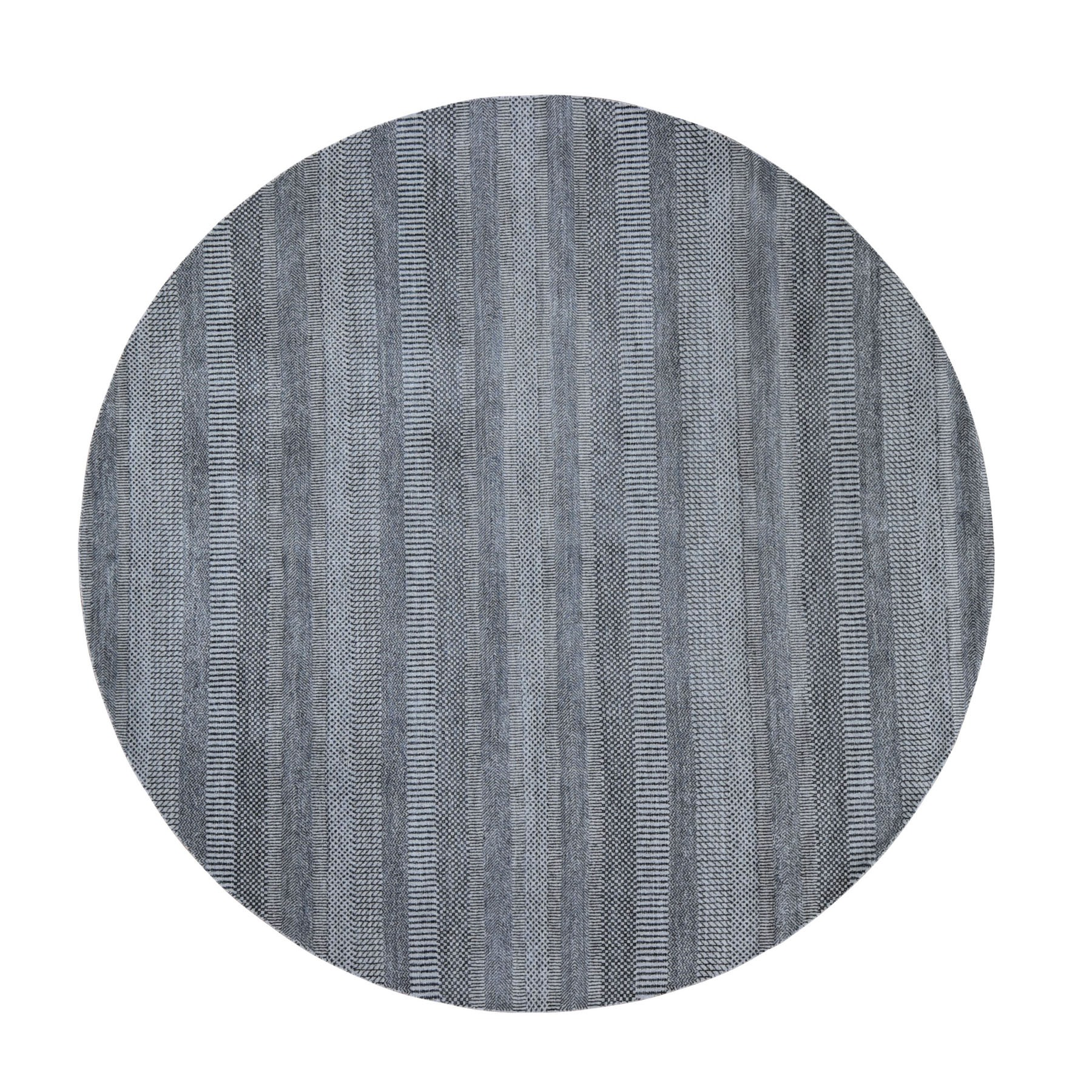 "7'10""x7'10"" Round Gray Grass Design Wool And Silk Hand Woven Oriental Rug"