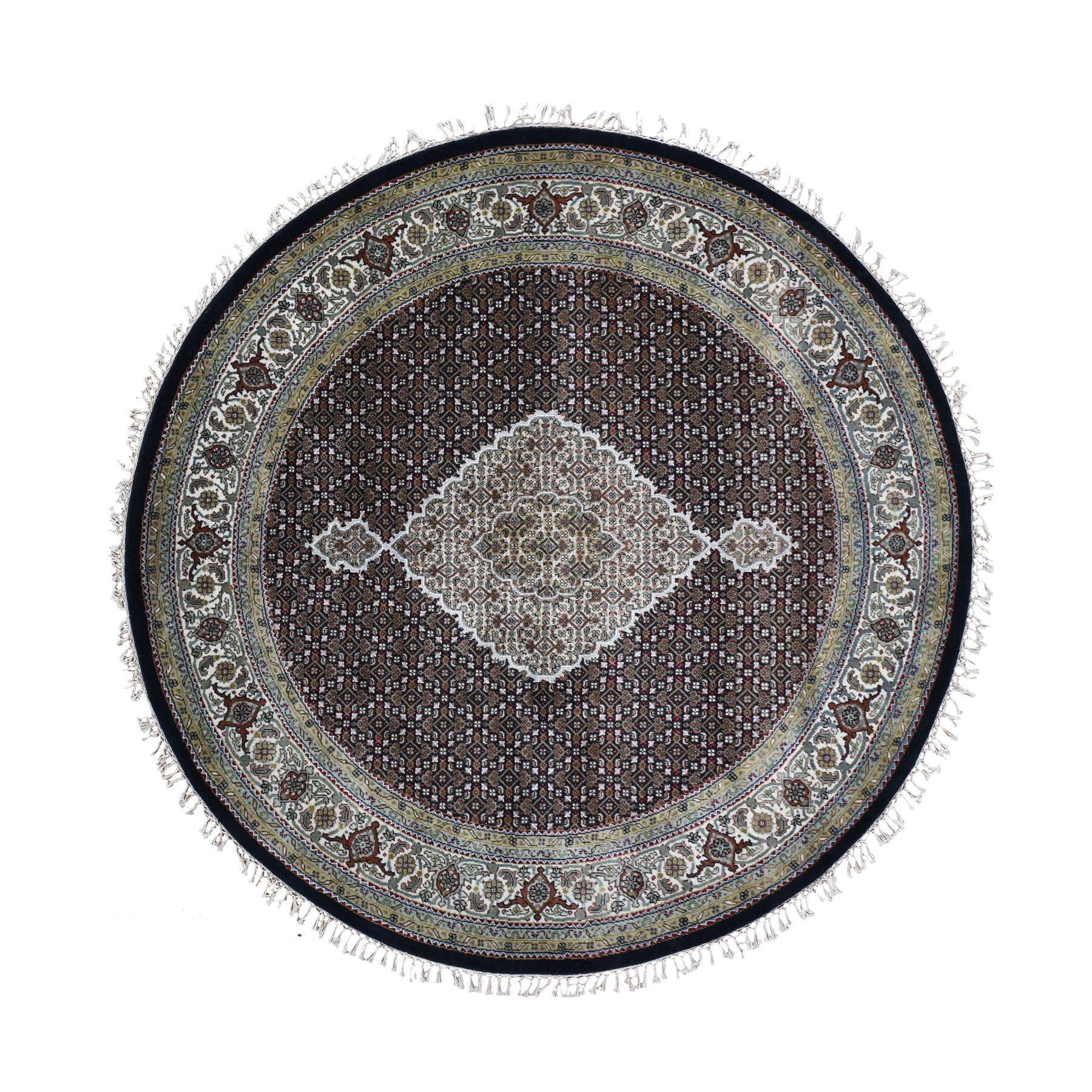 "6'5""x6'5"" Round Black Tabriz Mahi Wool And Silk Hand Woven Oriental Rug"
