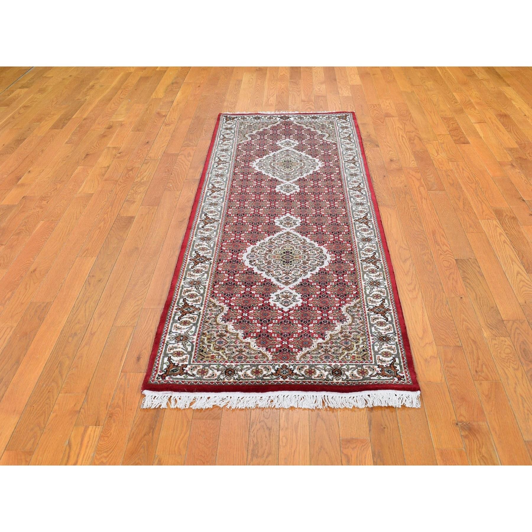 Red Tabriz Mahi Wool And Silk Runner