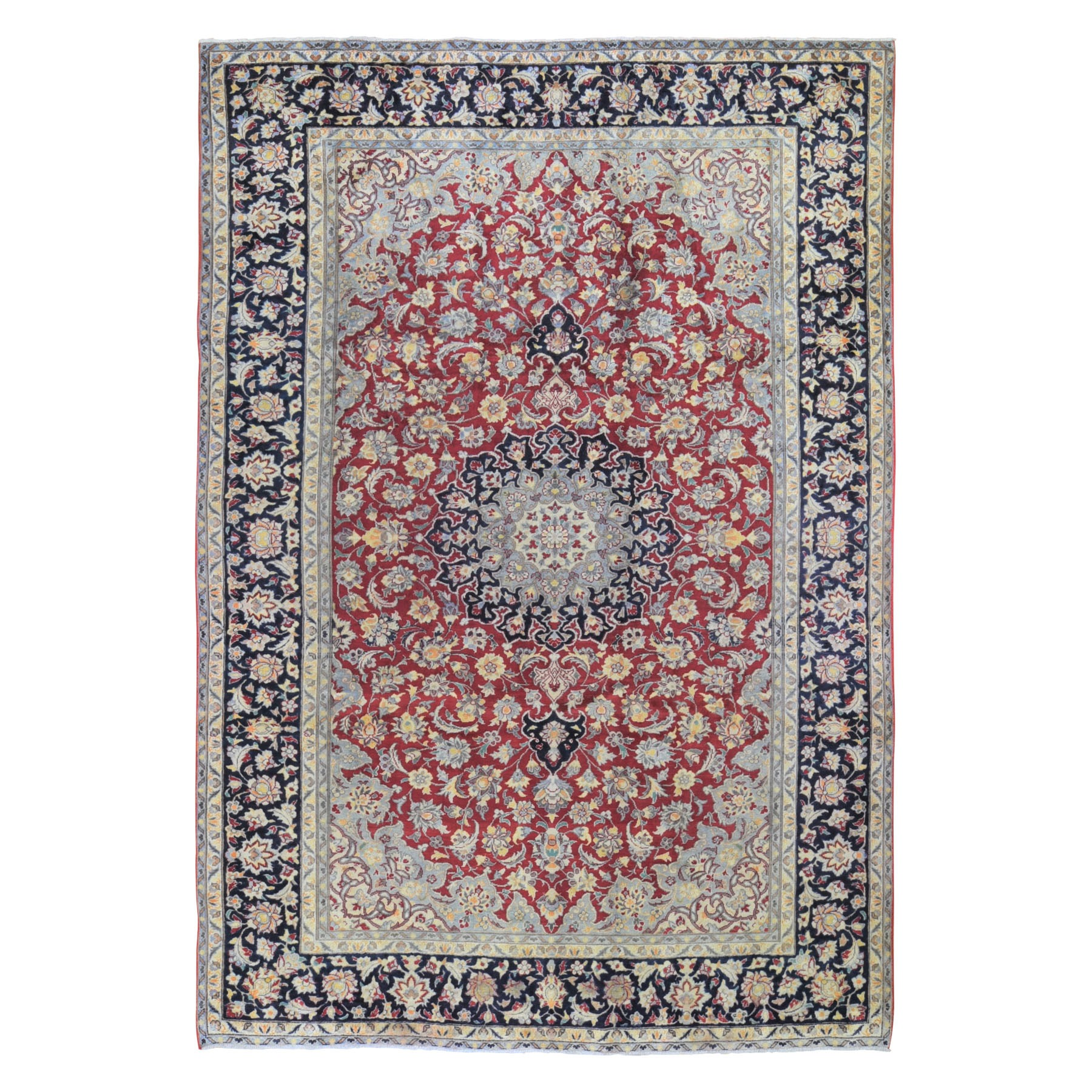 "7'10""x12'1"" Red Semi Antique Isfahan Clean Good Condition Pure Wool Hand Woven Oriental Rug"