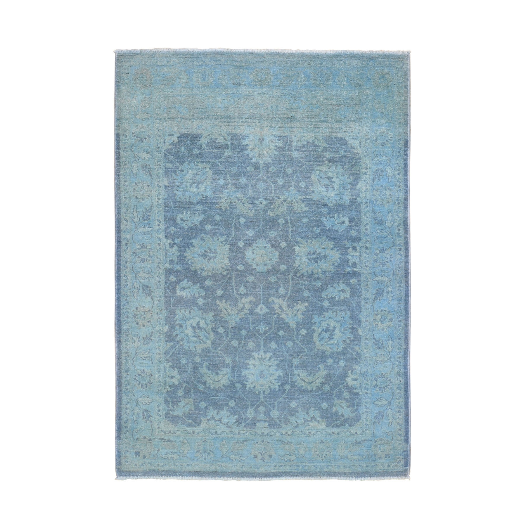 "4'1""x6'3"" Blue Overdyed Peshawar Pure Wool Hand Woven Oriental Rug"