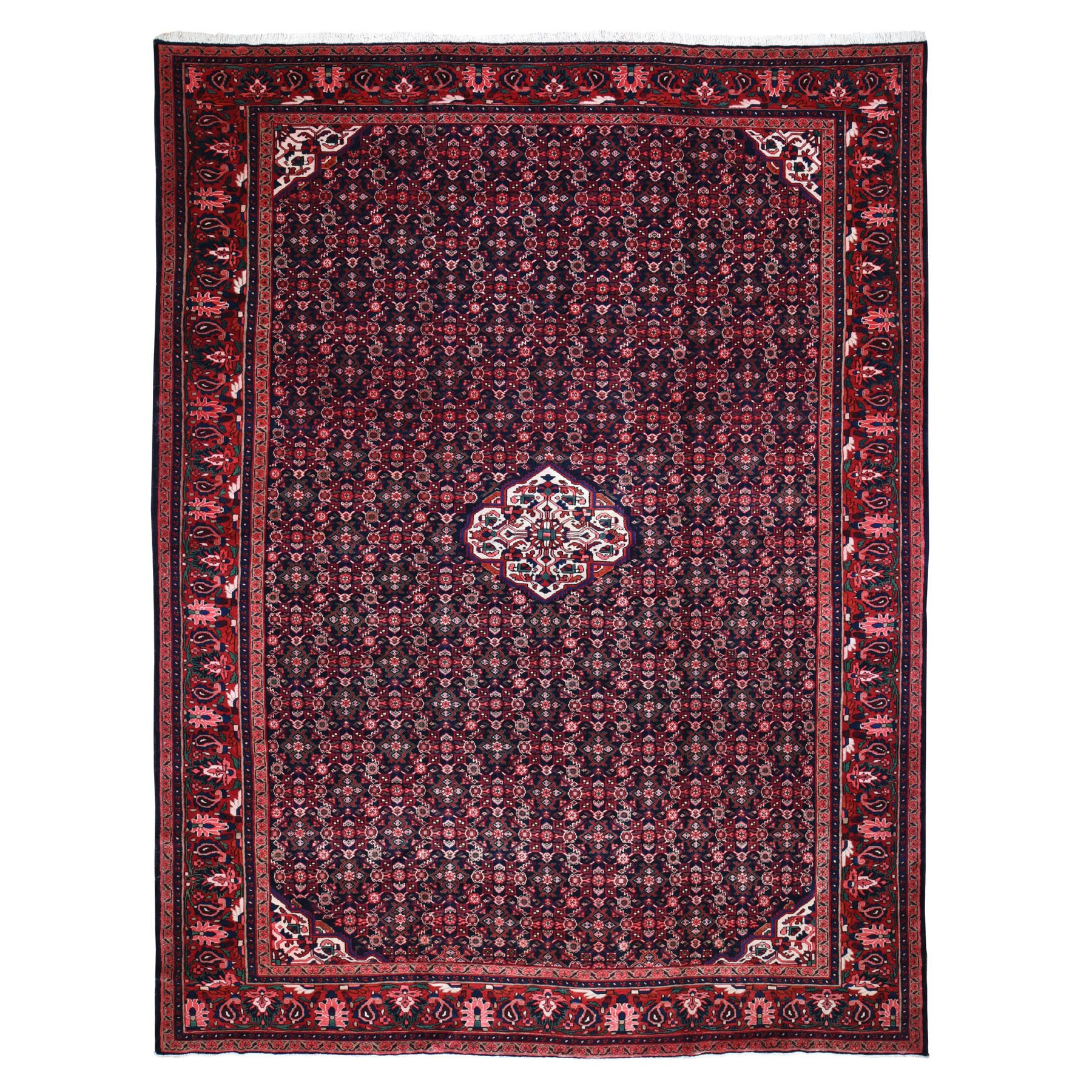 "10'7""x14' Red New Persian Mahal Fish Design Denser Weave Pure Wool Hand Woven Oriental Rug"