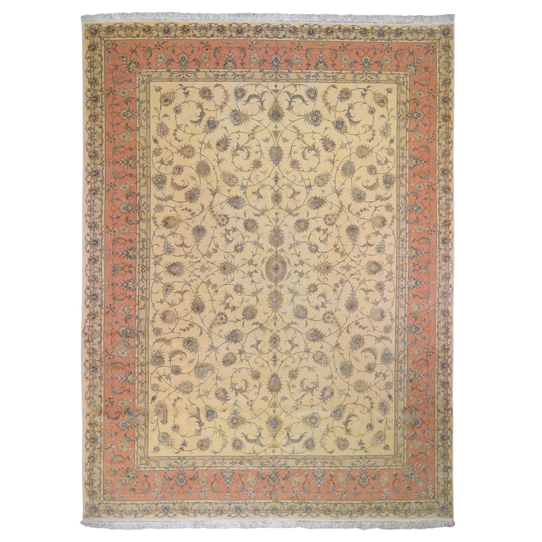 "9'10""x13'3"" Soft Color All Over Design Persian Tabriz 400 KPSI  Wool And Silk Oriental Rug"