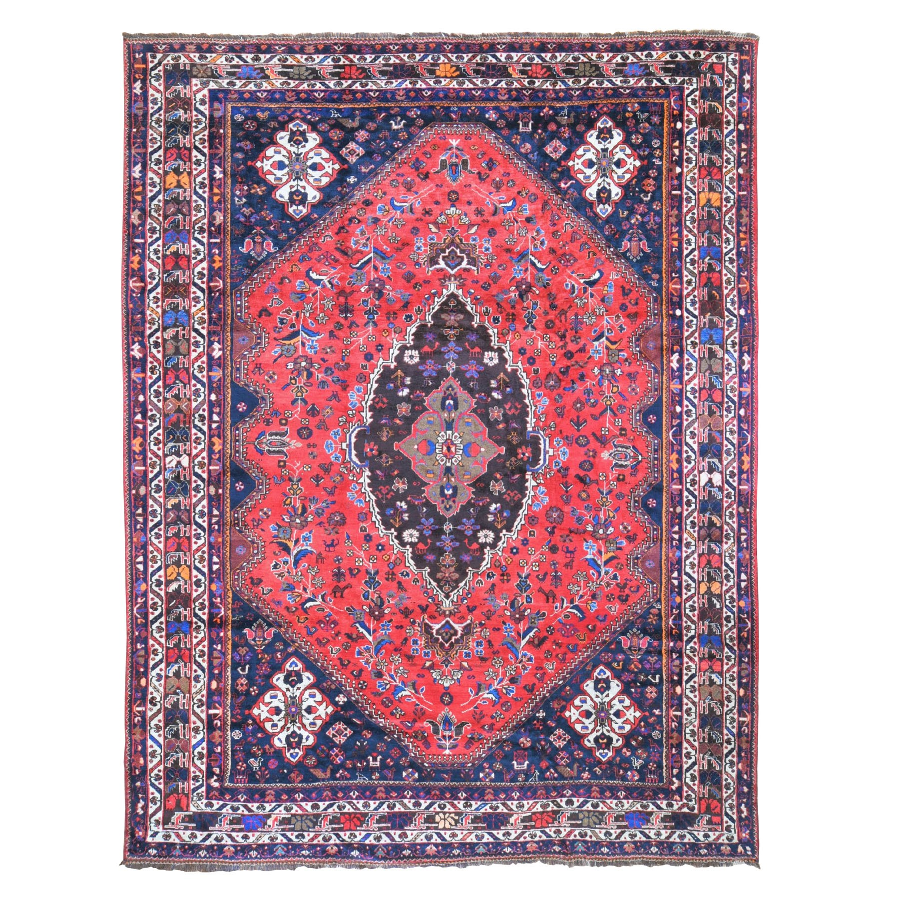 "10'2""x13'6""  Red Vintage Persian Mishkin Pure Wool Hand Woven Oriental Rug"