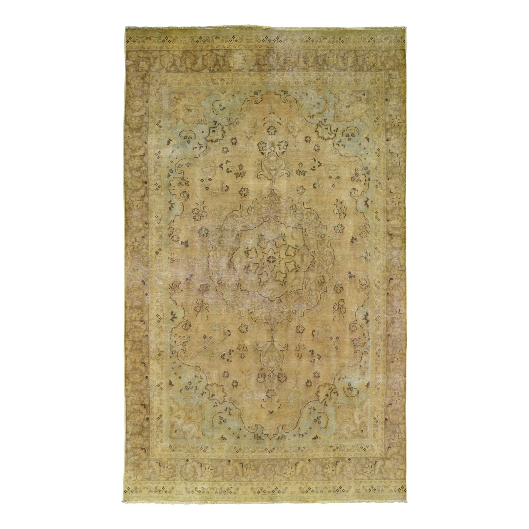 "5'5""x9'3"" Yellow Overdyed Persian Tabriz Pure Wool Hand Woven Oriental Rug"