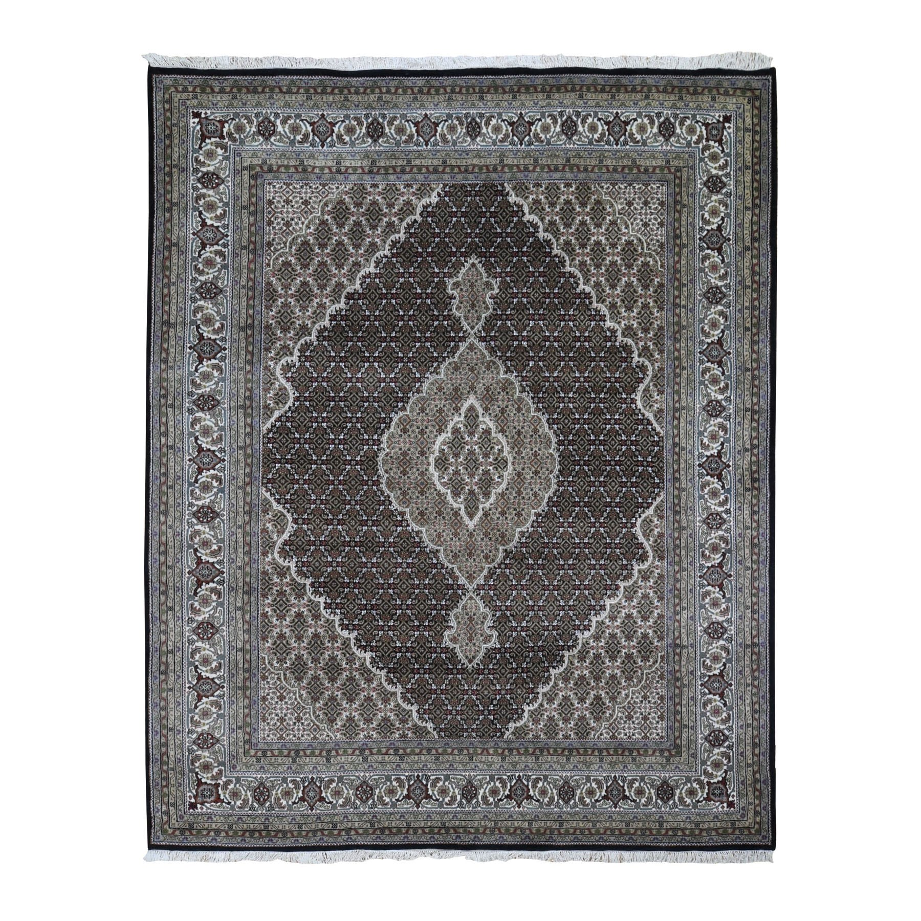 "8'1""x9'10"" Black Tabriz Mahi Wool And Silk Hand Woven Oriental Rug"
