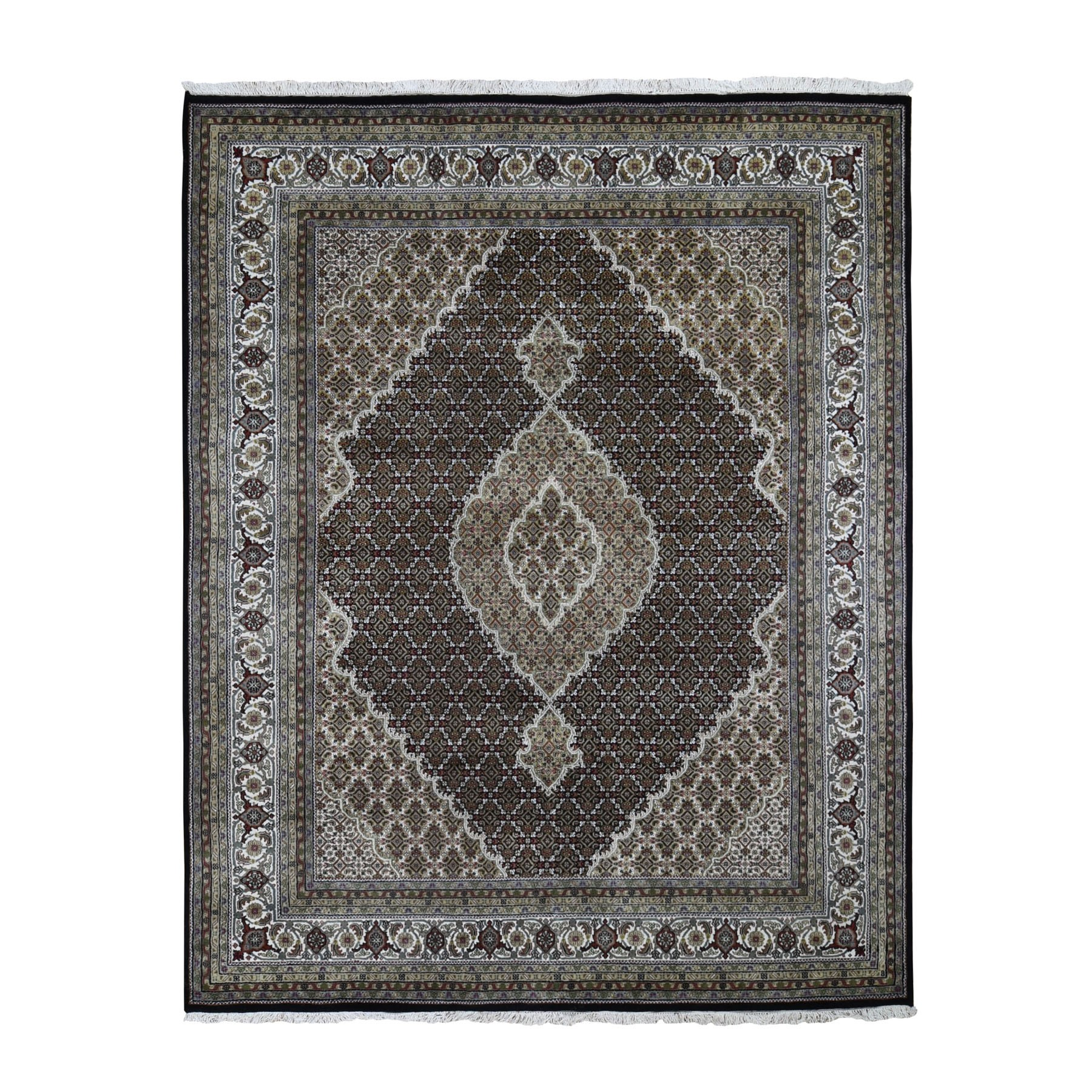 "7'10""x9'10"" Black Tabriz Mahi Wool And Silk Hand Woven Oriental Rug"