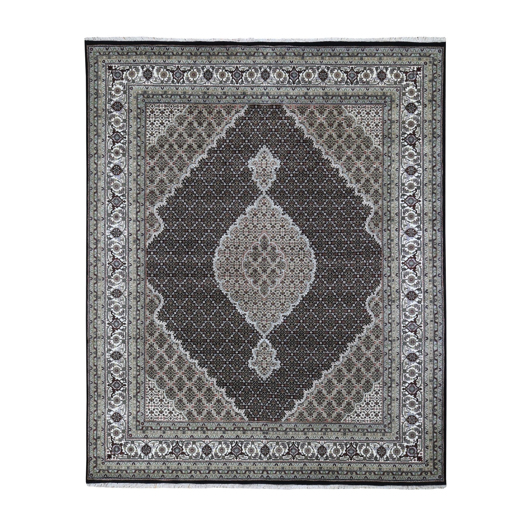 "8'1""x9'10"" Black Tabriz Mahi Fish Design Wool And Silk Hand Woven Oriental Rug"