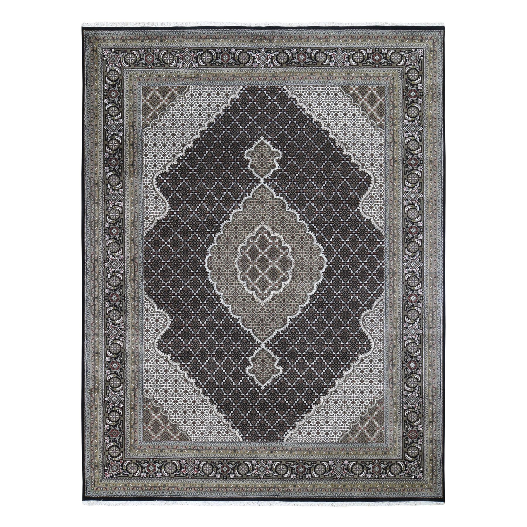 "8'9""x11'10"" Black Tabriz Mahi Fish Design Wool And Silk Hand Woven Oriental Rug"