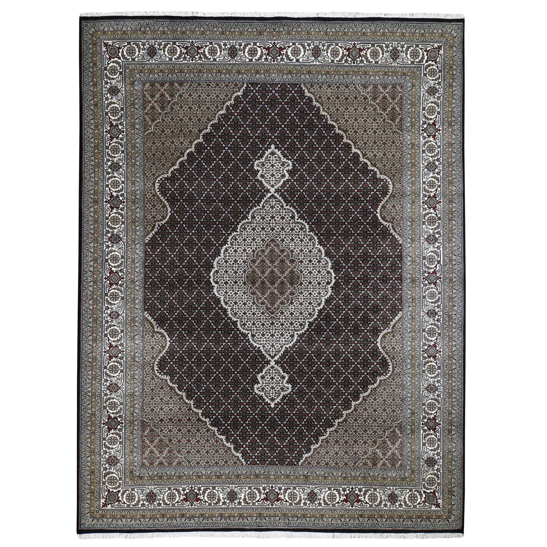 "9'1""x11'10""  Black Tabriz Mahi Fish Design Wool And Silk Hand Woven Oriental Rug"