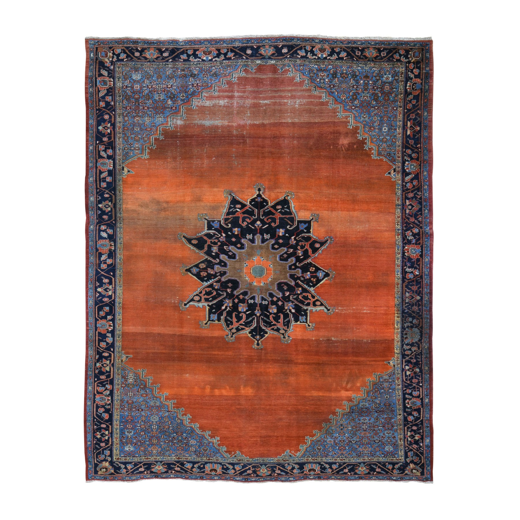 "8'7""x10'7"" Orange Antique And Worn Persian Afshar Open Filed With Medallion Hand Woven Oriental Rug"