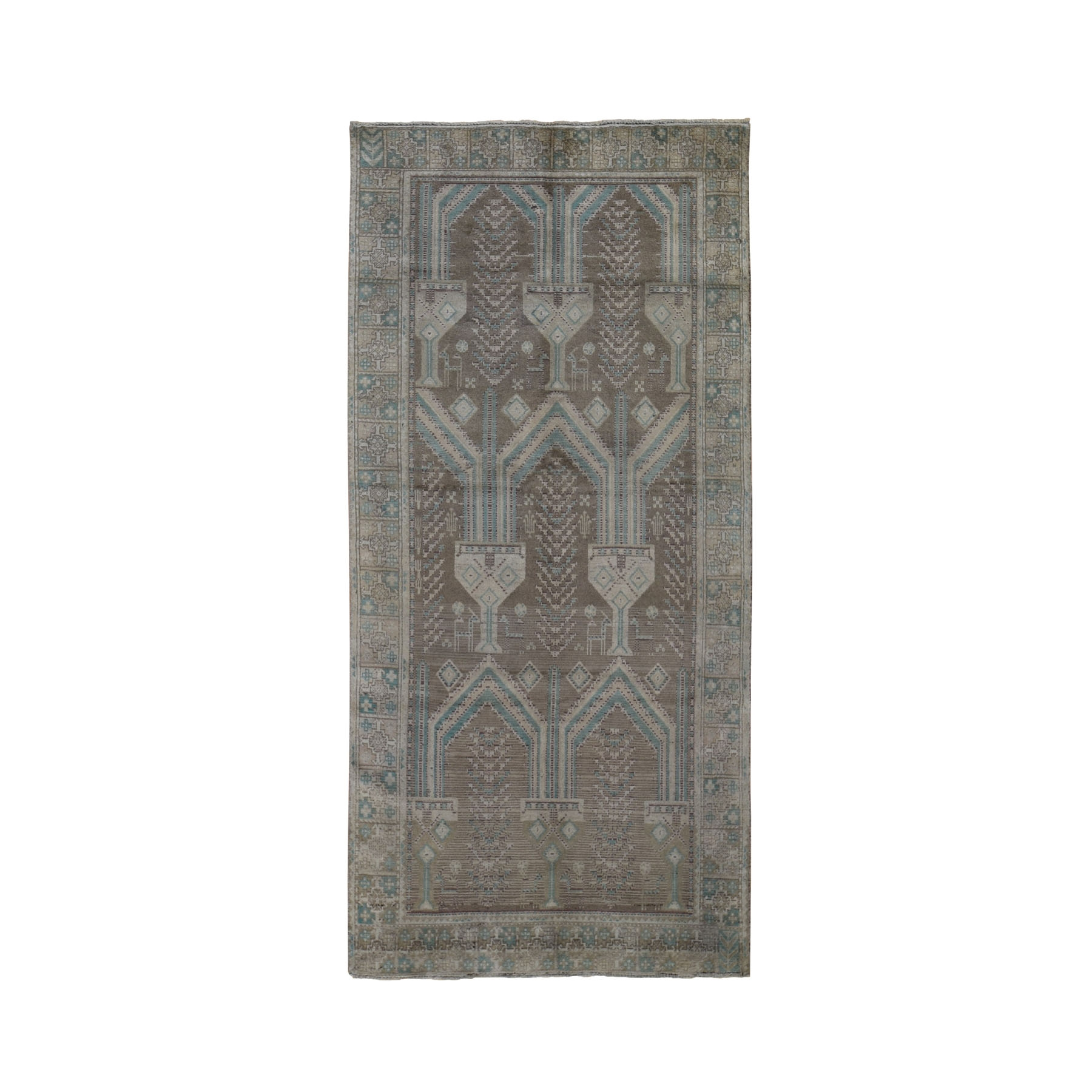 "4'1""x9'2"" Washed Out Afghan Baluch With Natural Colors Pure Wool Wide Runner Hand Woven Oriental Rug"
