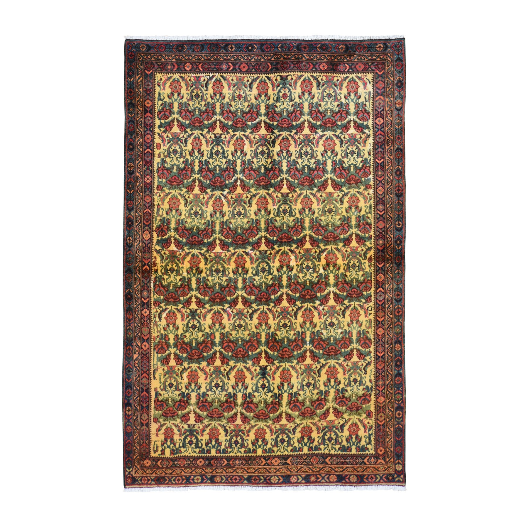 "4'10""x8' Yellow Vintage Persian Bakhtiari Repetitive flower Design Pure Wool Knotted Oriental Rug"