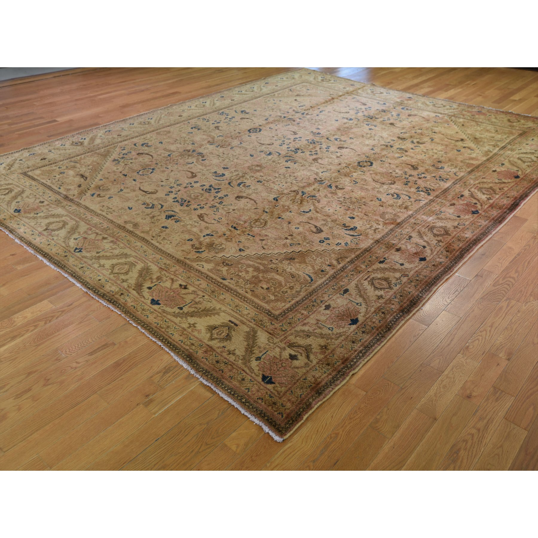 "10'8""x13'6"" Vintage Persian Mahal With Apricot Wash Full Pile Pure Wool Hand Woven Oriental Rug"