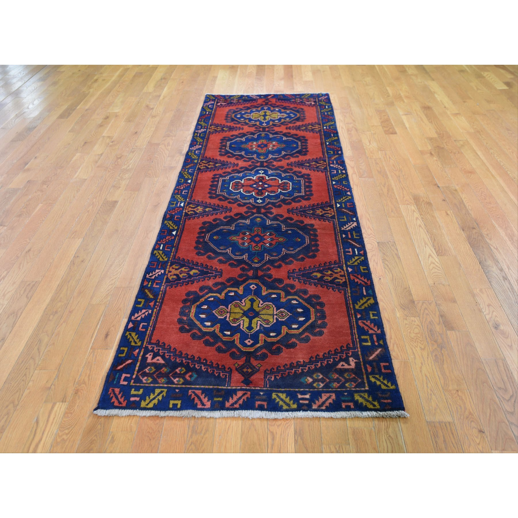"3'3""x9'6"" Red Vintage Persian Viss Runner Full Pile Exc Cond Hand Woven Oriental Rug"