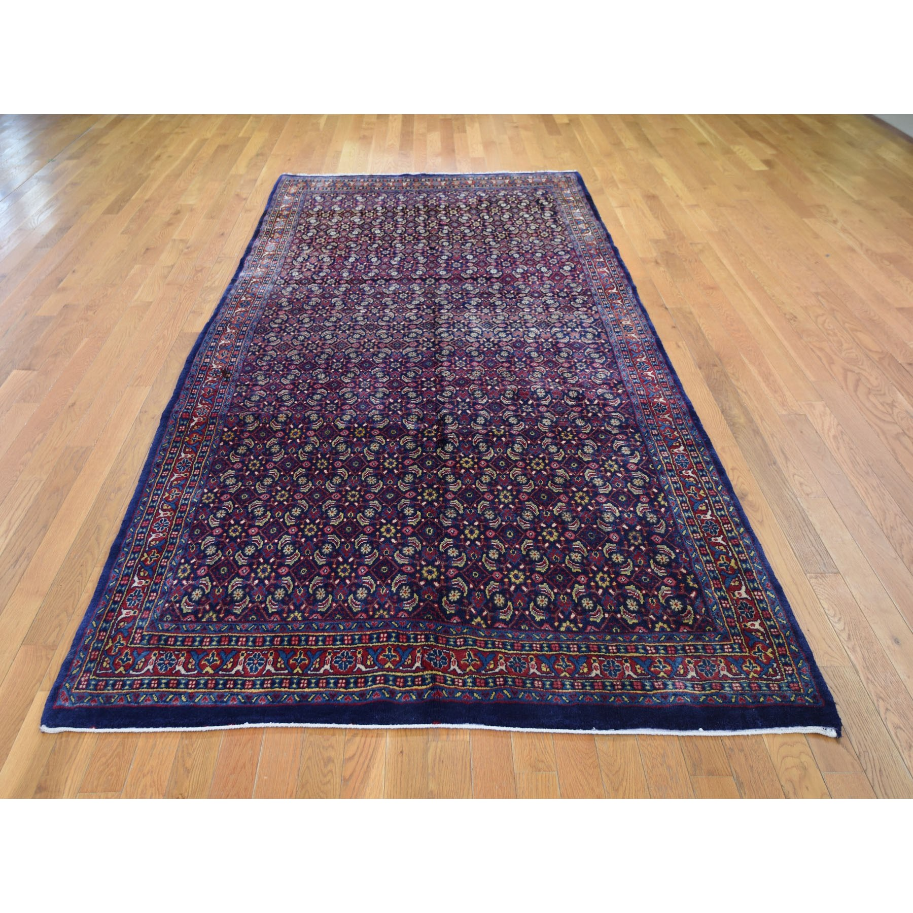 "5'5""x10'7"" Gallery Size Navy Vintage Persian All Over Fish Design Pure Wool Hand Woven Oriental Rug"