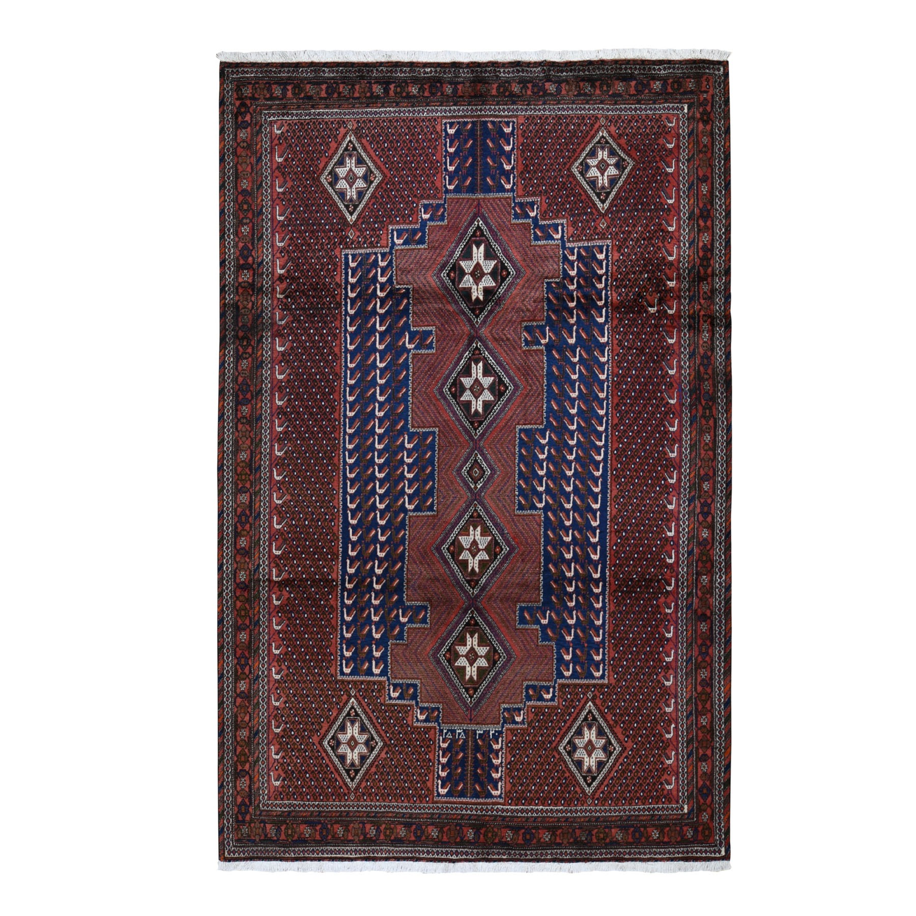 "6'8""x10'5"" Red New Persian Senneh Pure Wool Peacock Design Full Pile Hand Woven Oriental Rug"